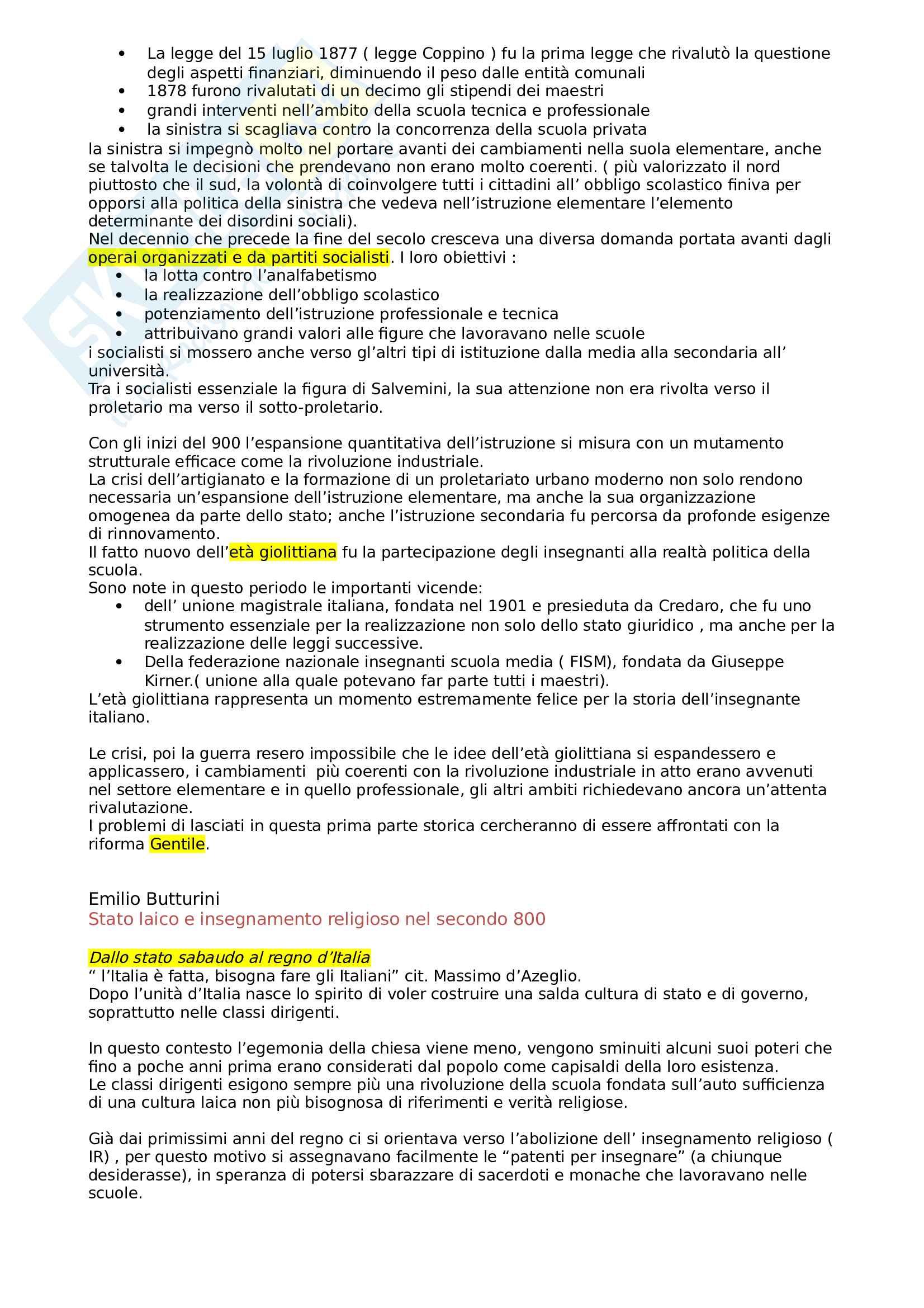 Riassunto esame storia della scuola e delle istituzioni educative, prof Caimi, libro consigliato Maestri, maestre, educazione dell'infanzia nell'Italia unita, Caimi Pag. 2