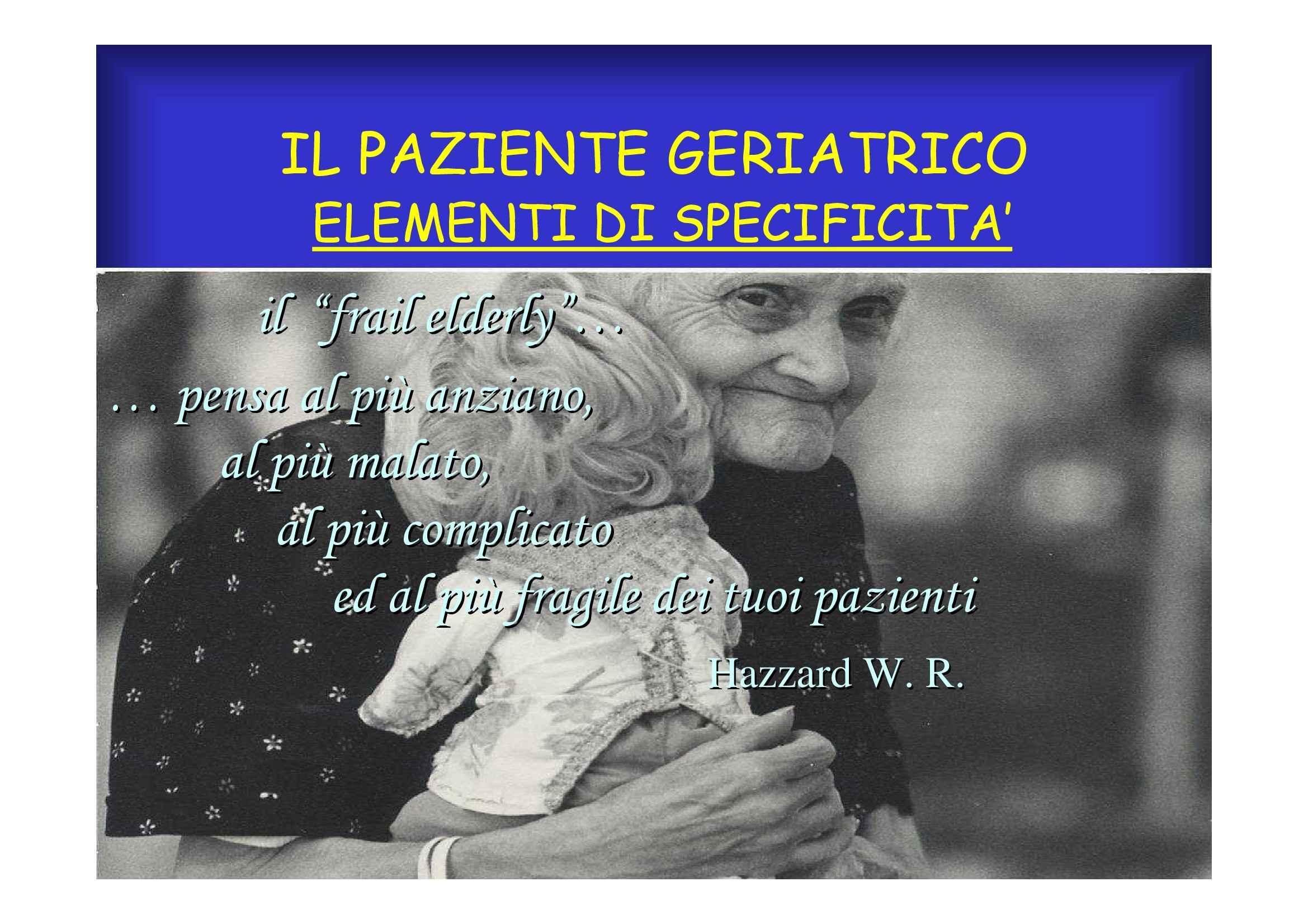Geriatria - Il paziente geriatrico