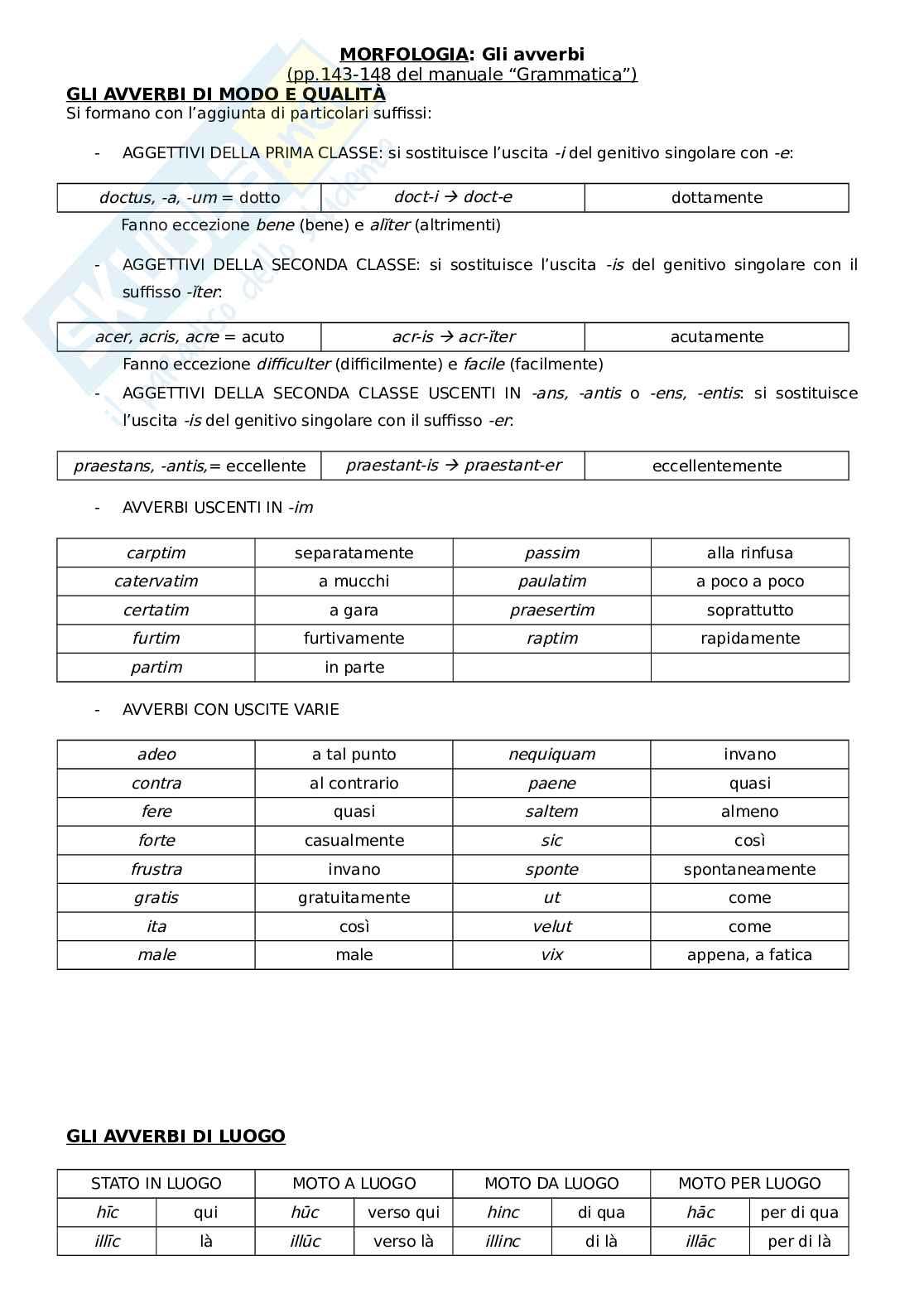 Gli avverbi latini