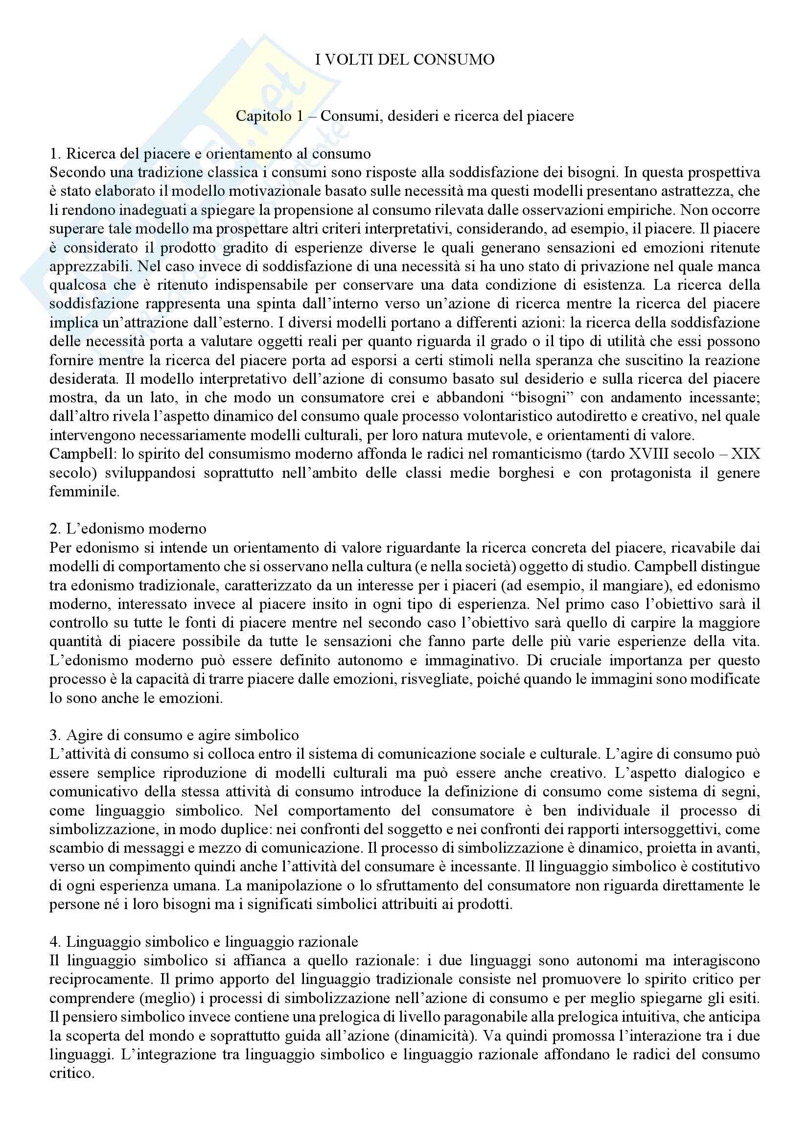 Riassunto esame Sociologia della globalizzazione, docente Rampazi, libro consigliato I volti del consumo, Sertorio, Martinengo