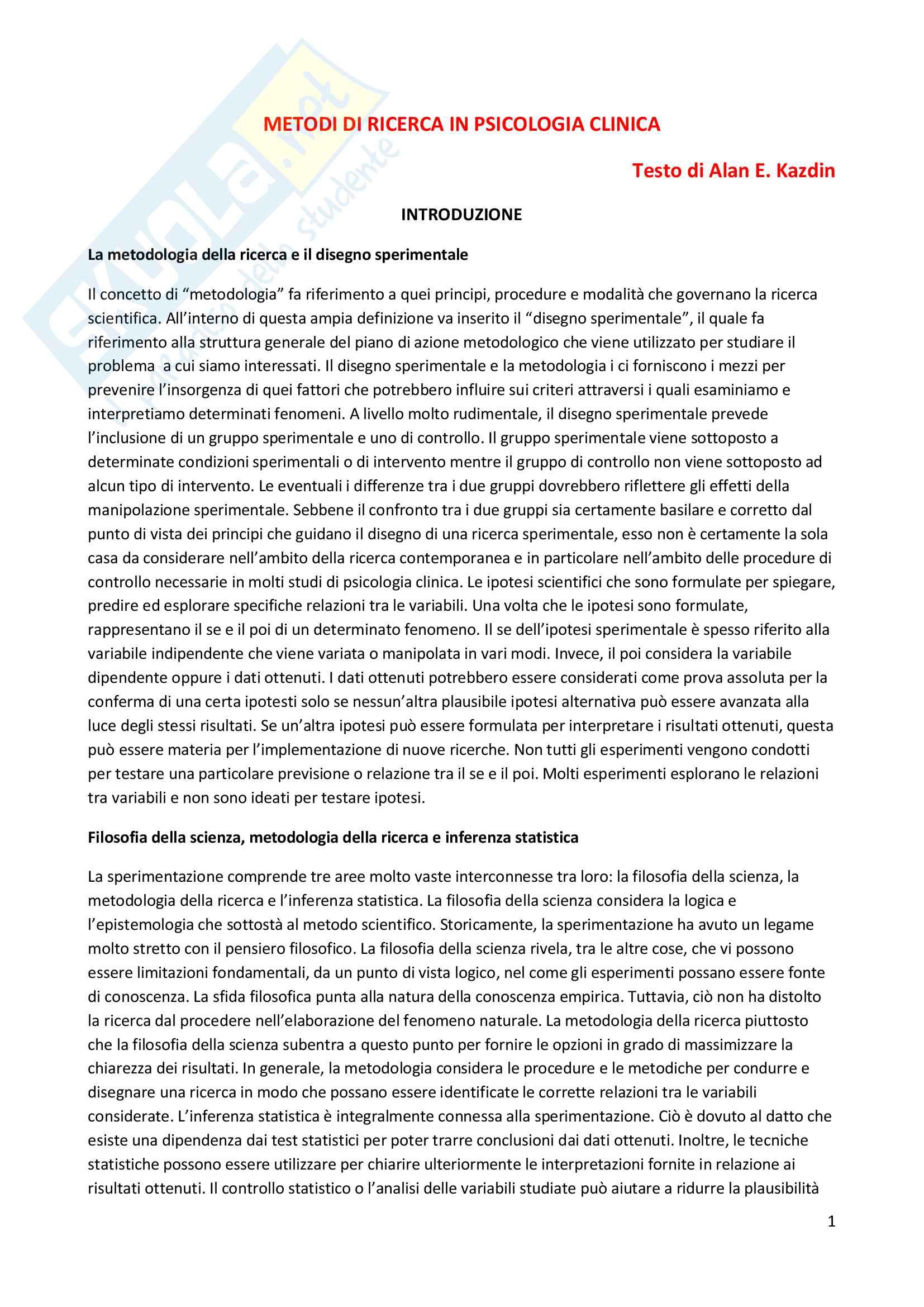 Riassunto esame Metodologia della ricerca in Psicologia Clinica, prof. Lo Coco, libro consigliato Metodi di ricerca in psicologia clinica, Alan E. Kazdin