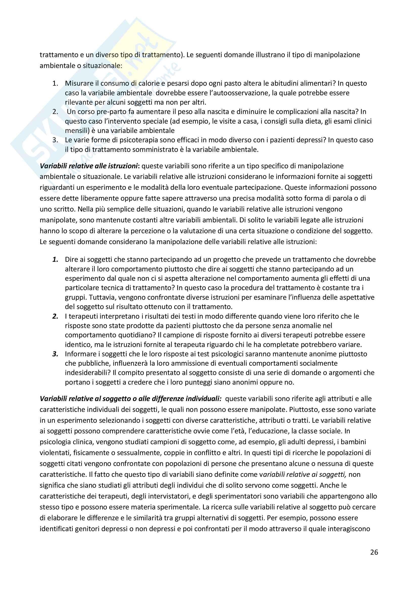 Riassunto esame Metodologia della ricerca in Psicologia Clinica, prof. Lo Coco, libro consigliato Metodi di ricerca in psicologia clinica, Alan E. Kazdin Pag. 26