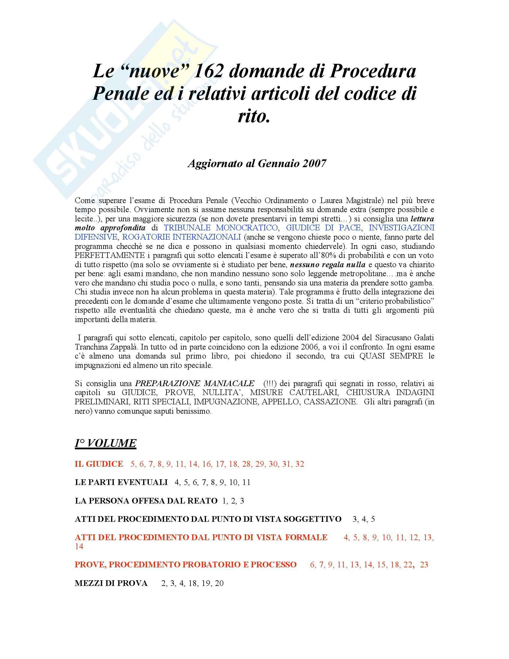 Procedura penale - 162 Domande d'esame