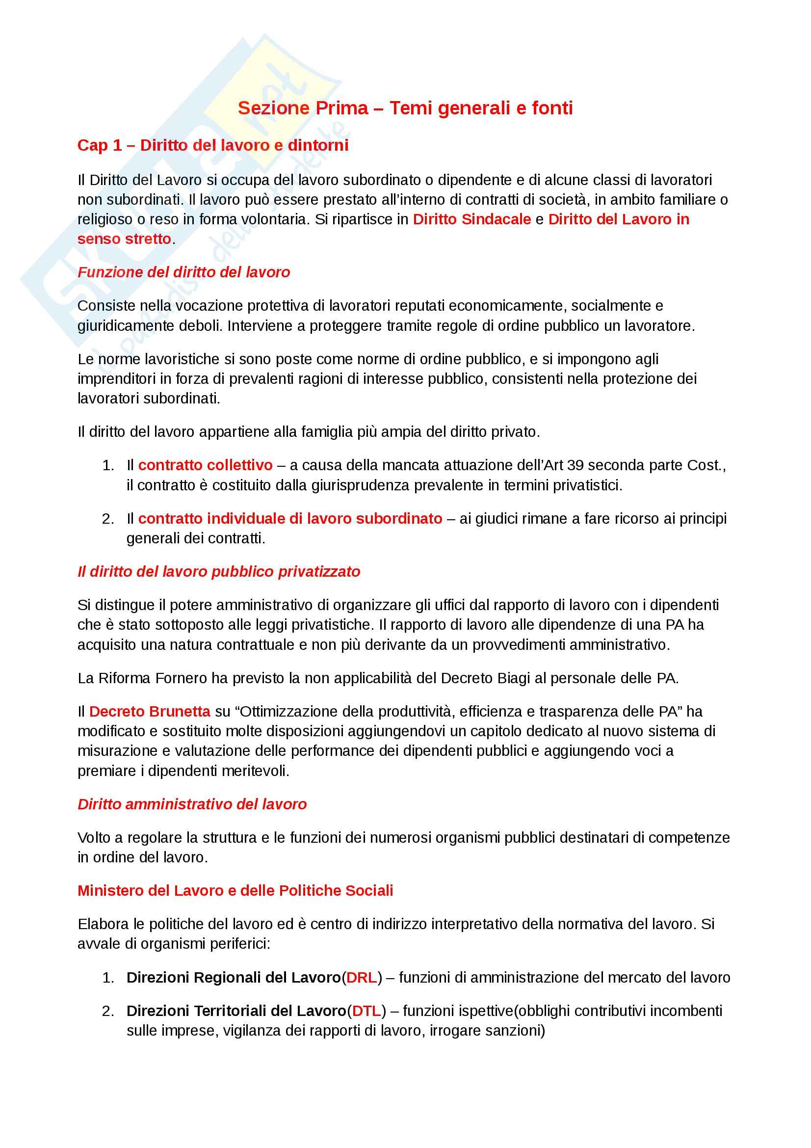 Riassunto esame Diritto del lavoro, prof. Scarpelli, libro consigliato Diritto del Lavoro, Del Punta