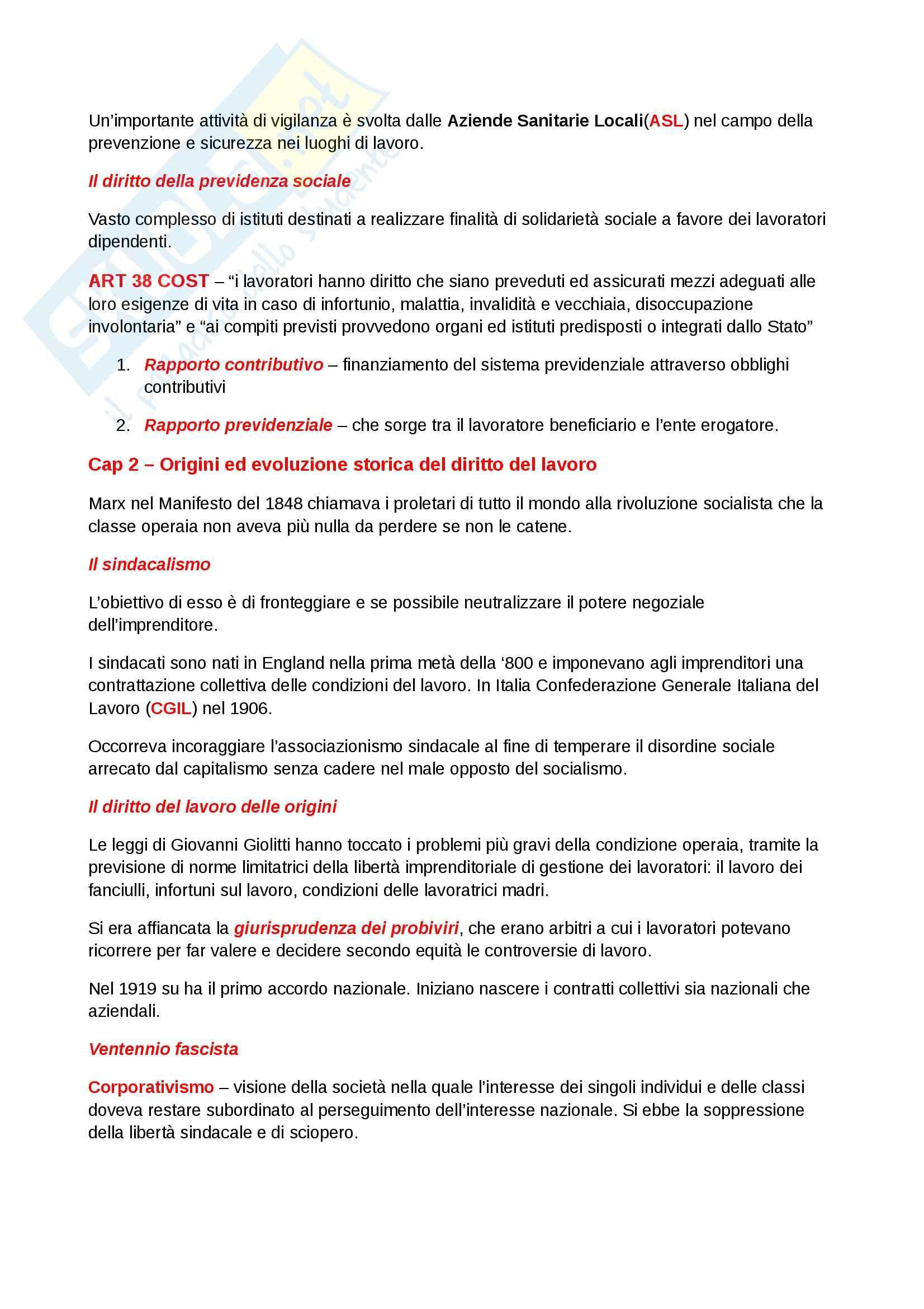 Riassunto esame Diritto del lavoro, prof. Scarpelli, libro consigliato Diritto del Lavoro, Del Punta Pag. 2