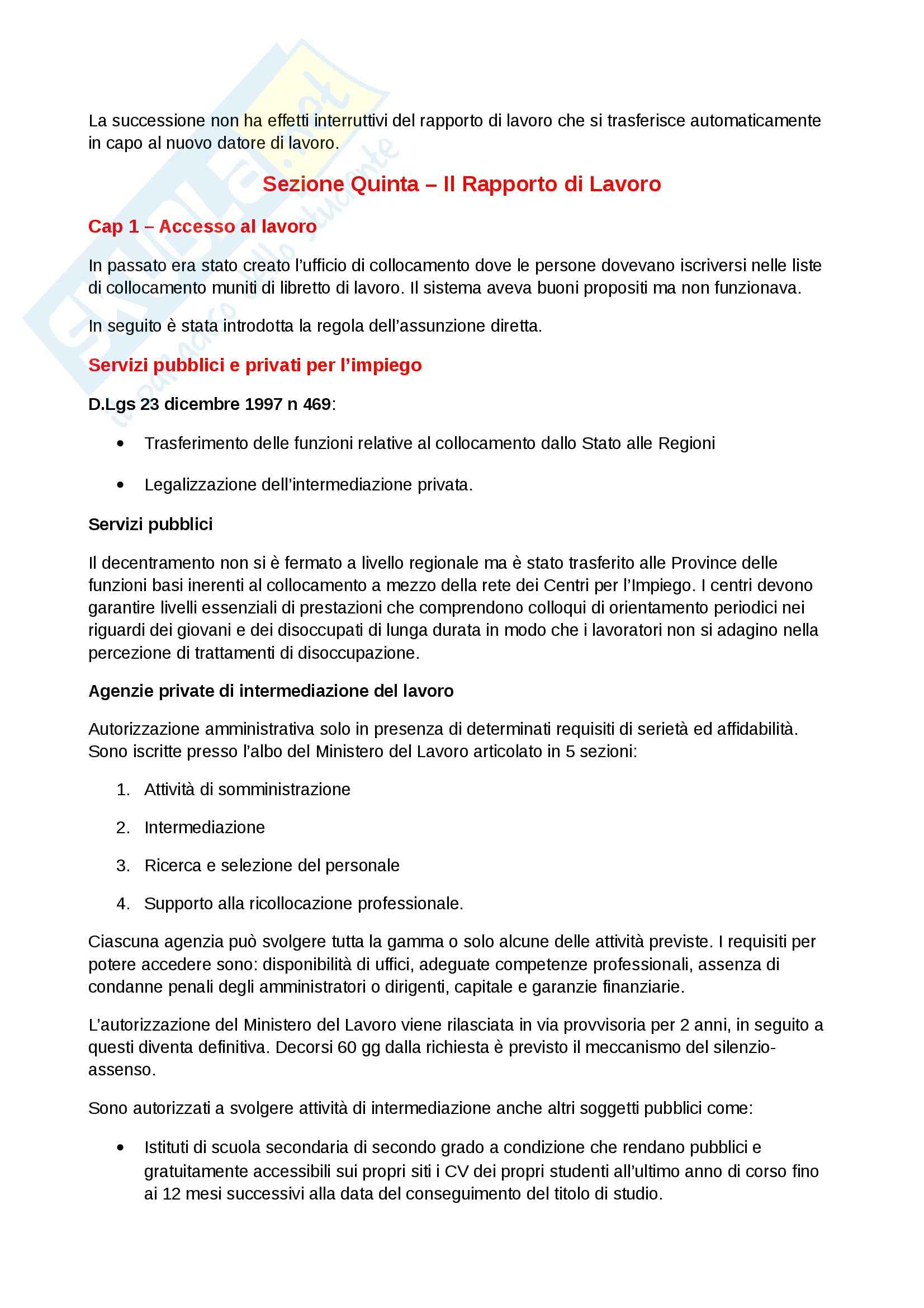 Riassunto esame Diritto del lavoro, prof. Scarpelli, libro consigliato Diritto del Lavoro, Del Punta Pag. 31