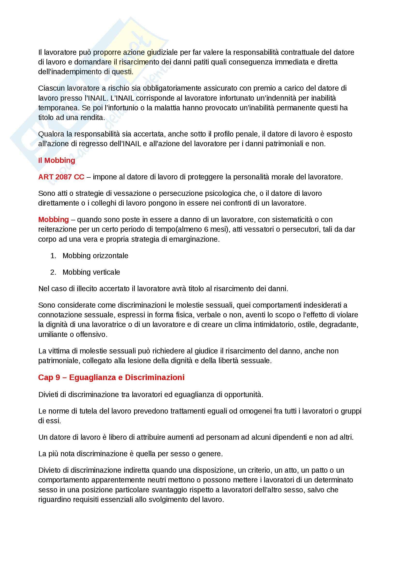 Riassunto esame Diritto del lavoro, prof. Scarpelli, libro consigliato Diritto del Lavoro, Del Punta Pag. 51
