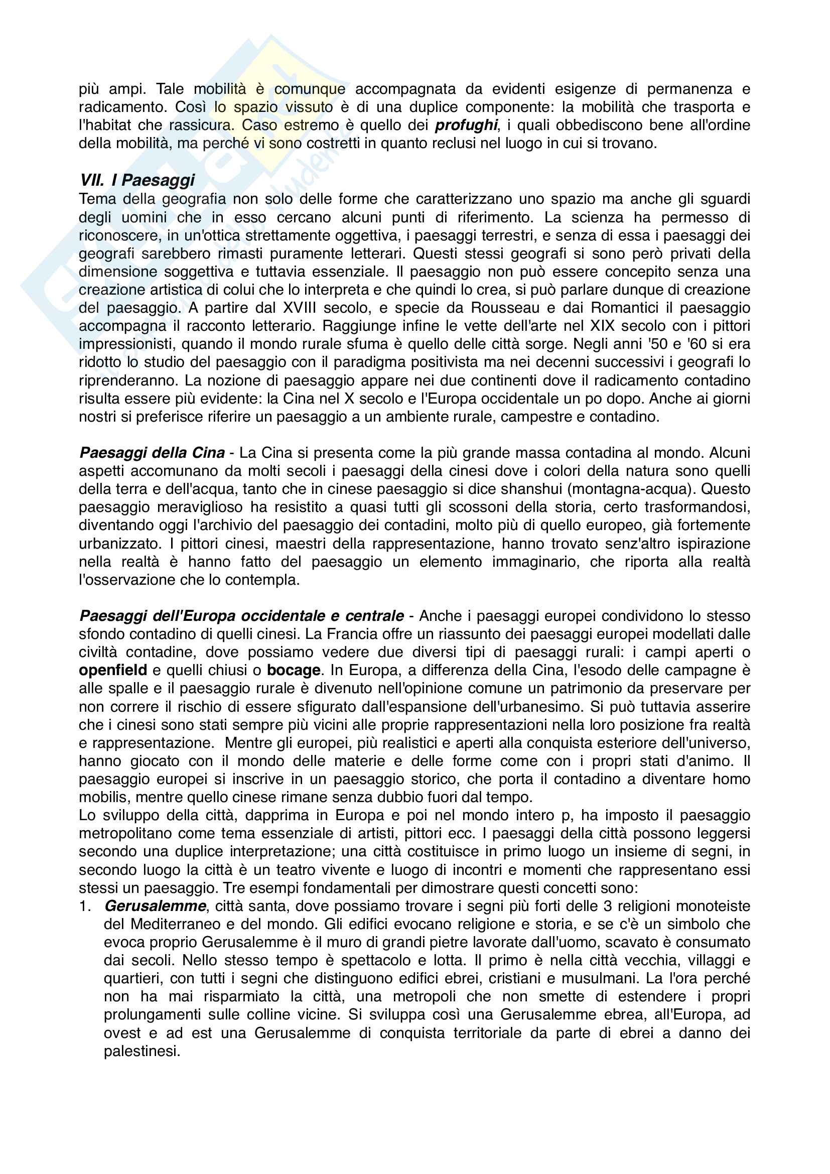 Riassunto geografia culturale, prof. Careggio, libro consigliato Ti Piace La Geografia, Frémont Pag. 6