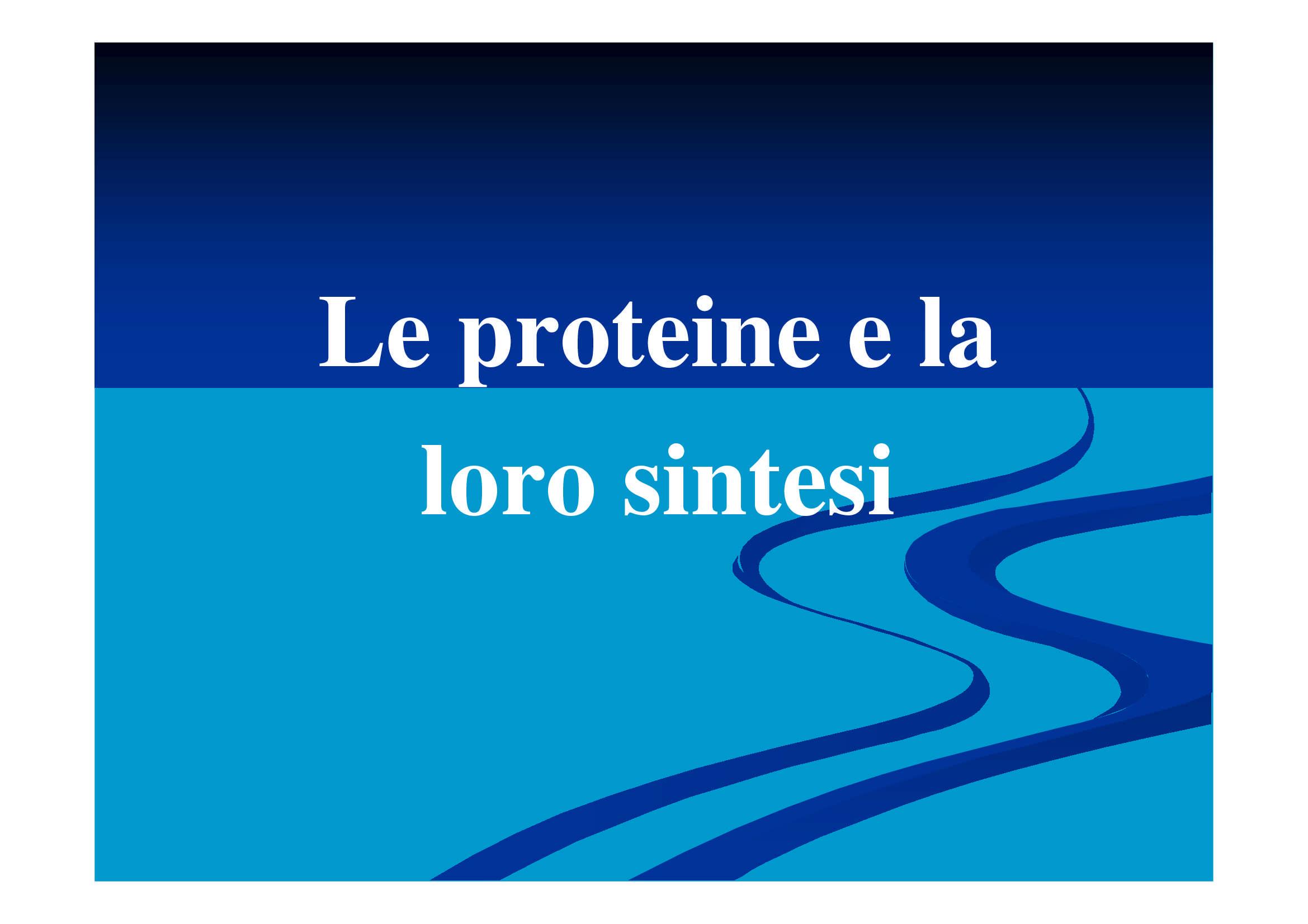 Codice genetico e sintesi proteica