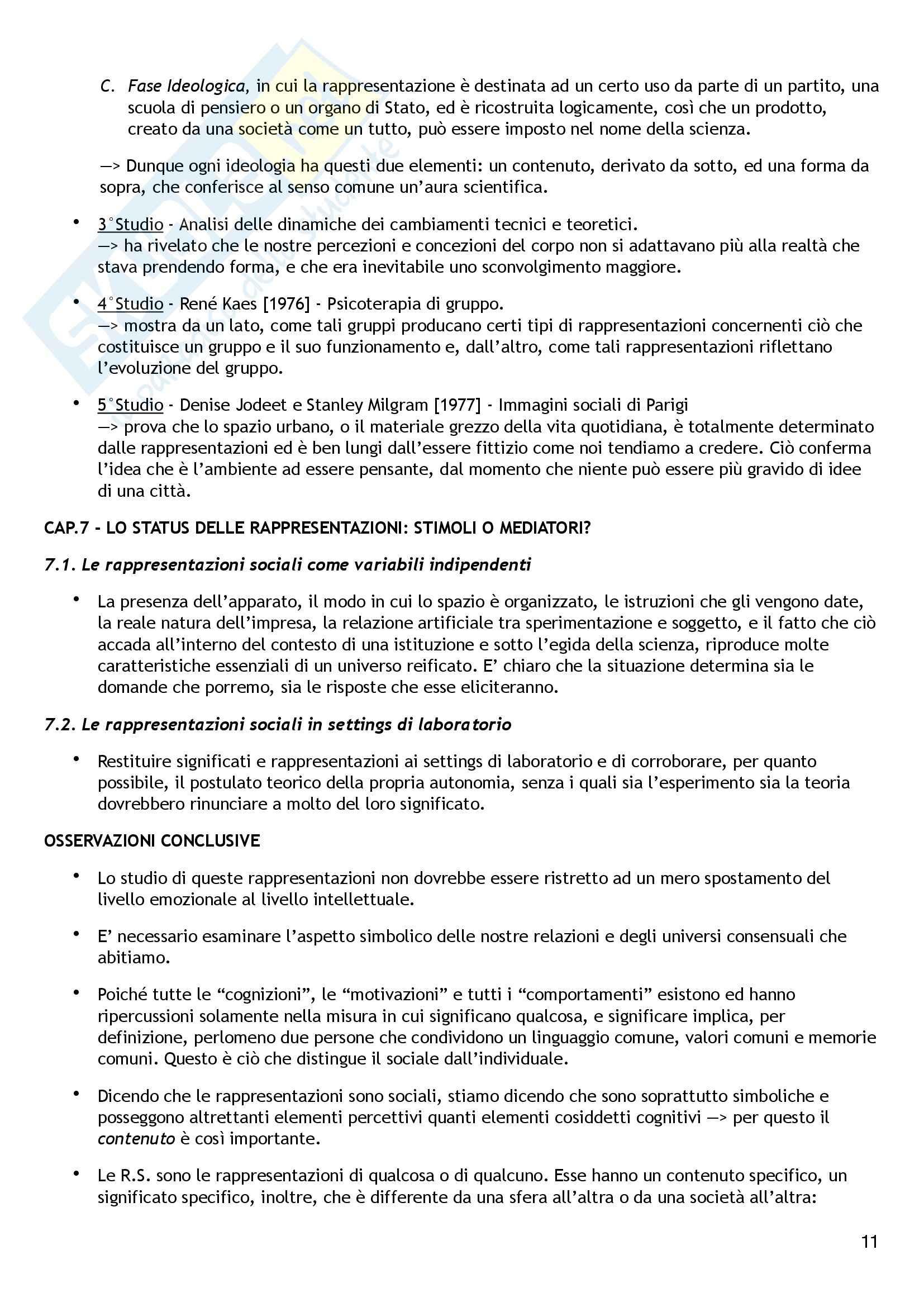Riassunto esame Psicologia Sociale, prof. Colucci, libro consigliato Le Rappresentazioni Sociali,  Moscovici Pag. 11