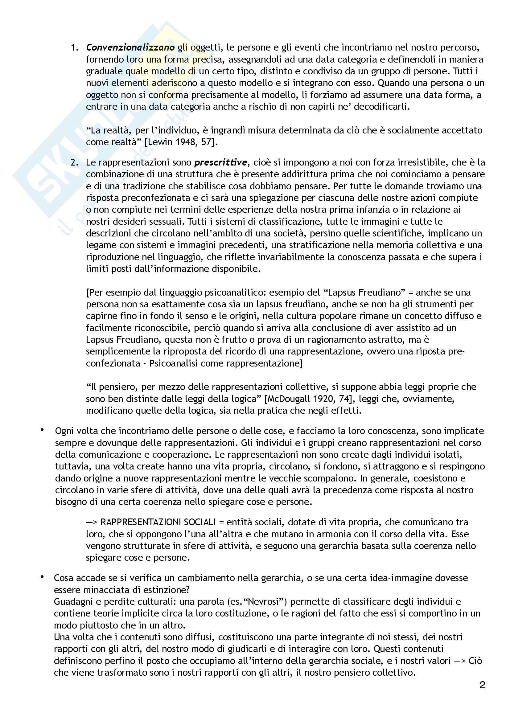 Riassunto esame Psicologia Sociale, prof. Colucci, libro consigliato Le Rappresentazioni Sociali,  Moscovici Pag. 2