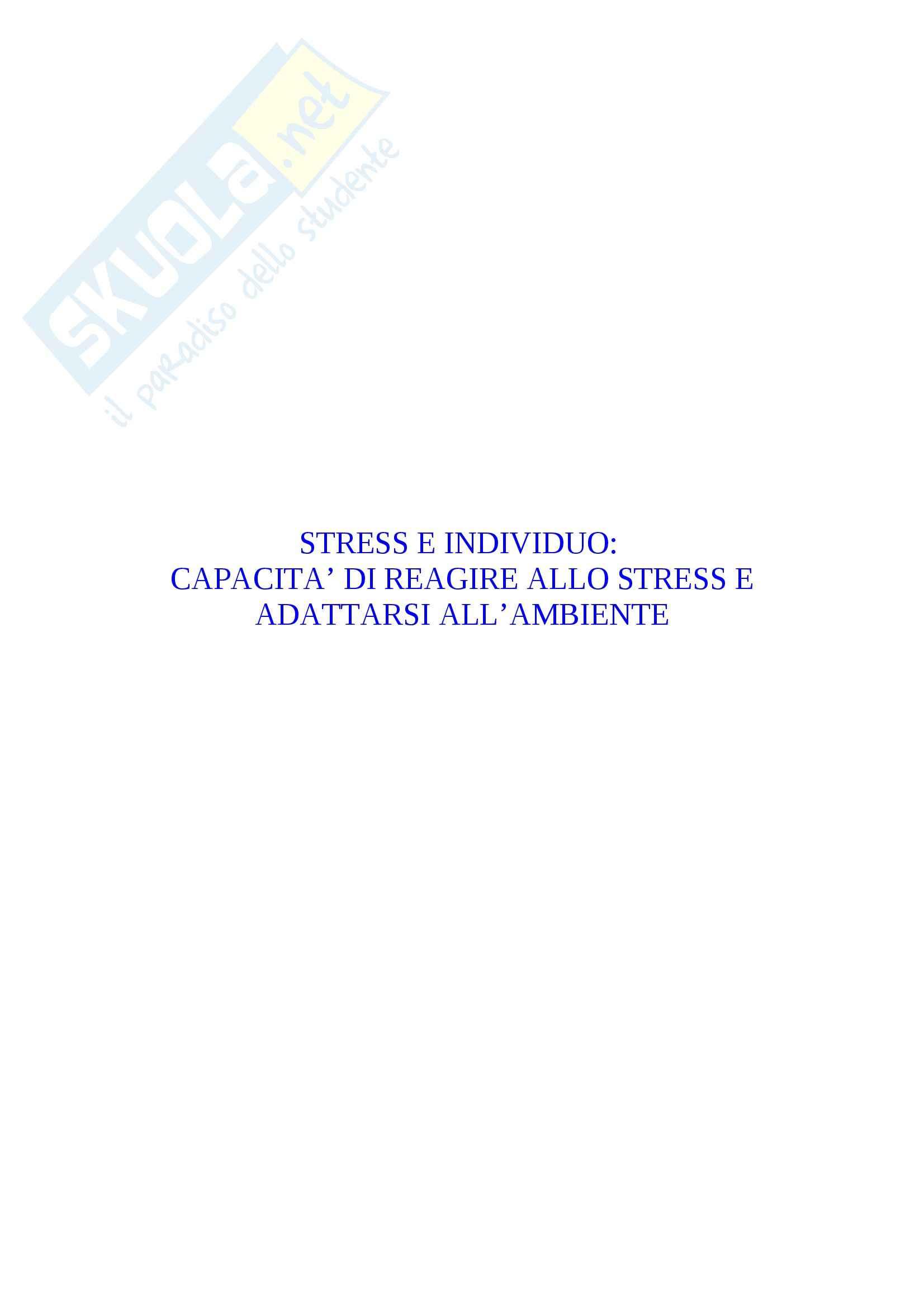 Psiconeurofisiologia - rapporto tra stress e individuo