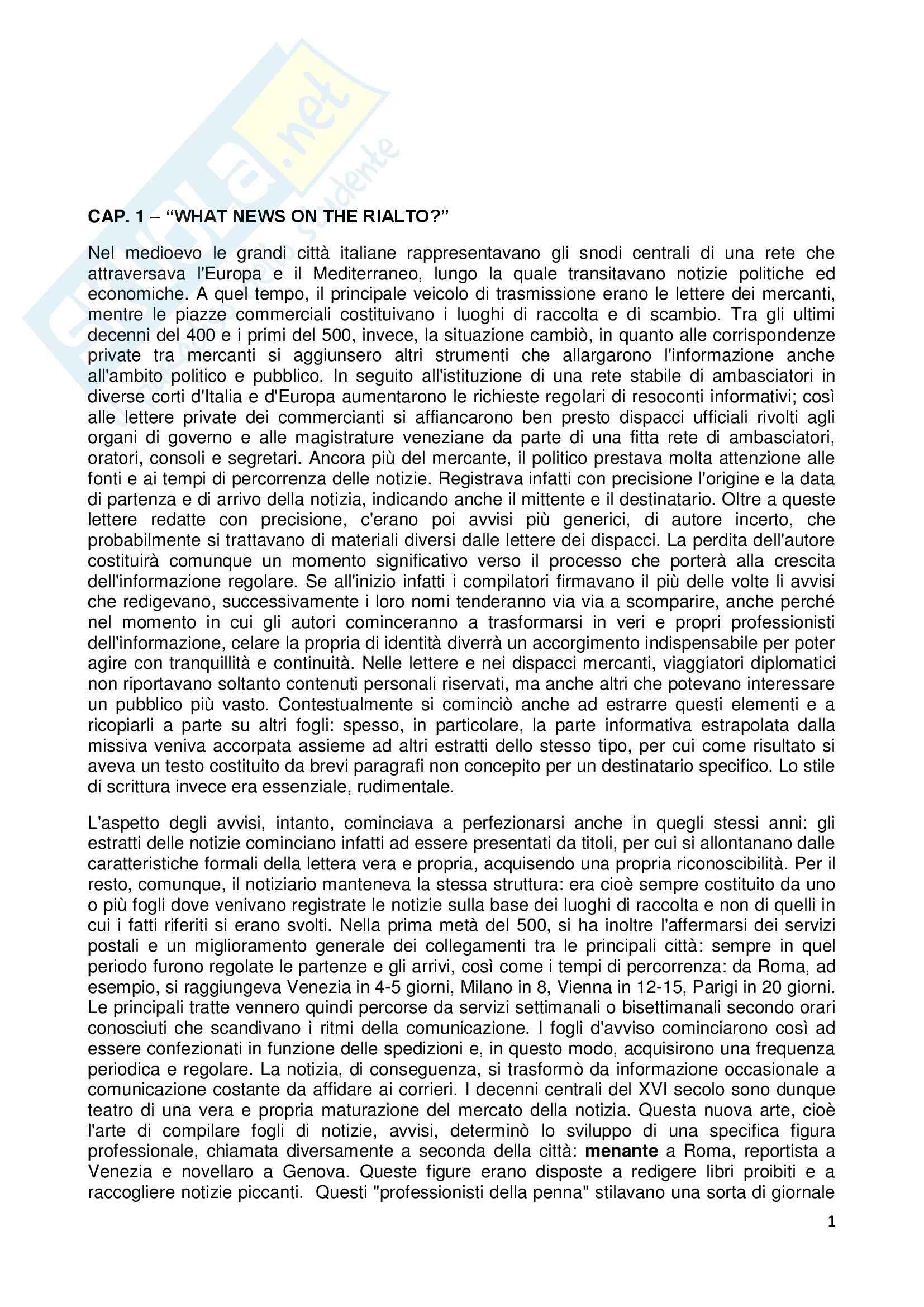 Riassunto esame Storia dell'opinione pubblica, prof. Carbone, libro consigliato Prima dei giornali. Alle origini della pubblica informazione, Infelise
