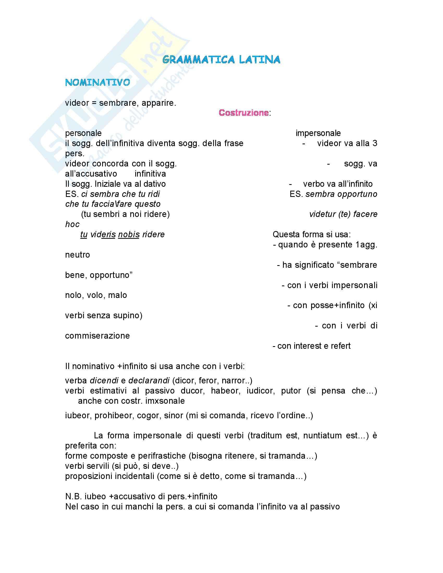 Latino - grammatica - Appunti
