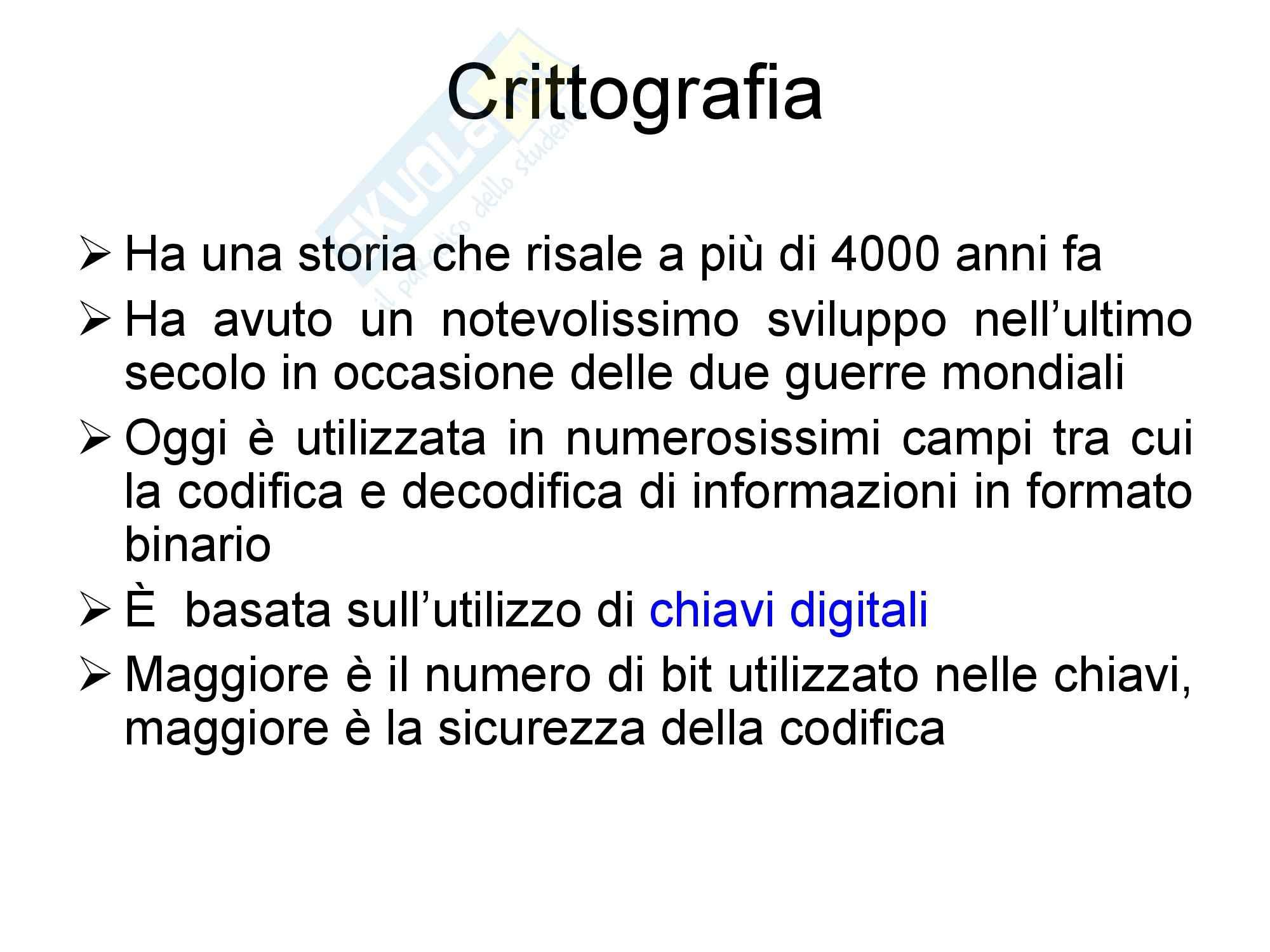 Sicurezza dei sistemi informatici - Crittografia Pag. 2
