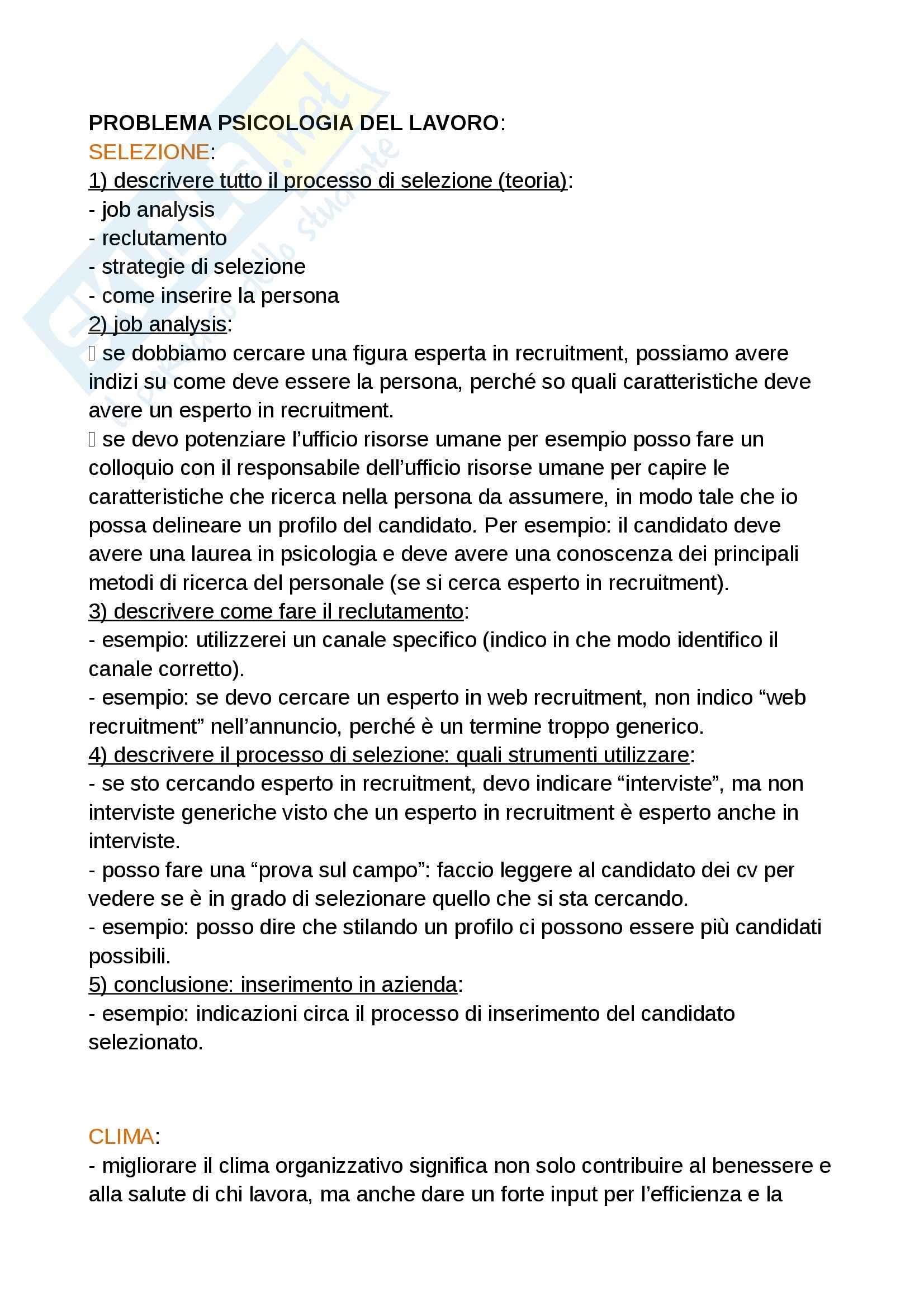 Riassunto esame problemi psicologia del lavoro e delle organizzazioni, Massimo Miglioretti