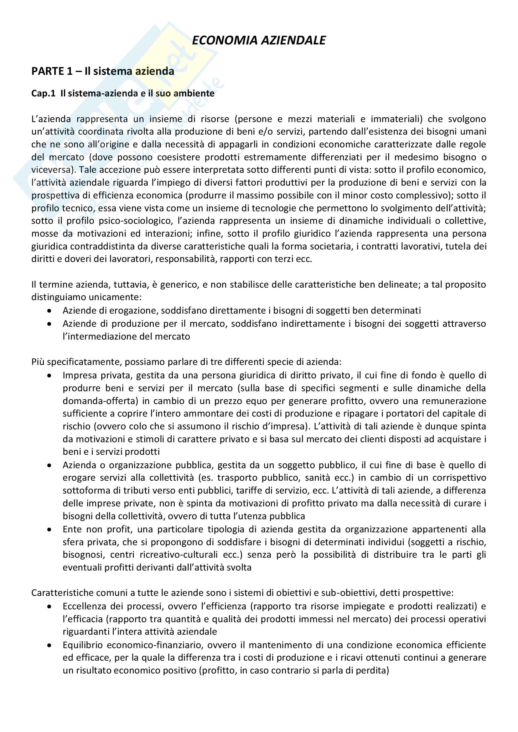 Riassunto esame economia aziendale, prof. Di Marcantonio, libro consigliato Lezioni di economia aziendale (seconda edizone), L. Brusa