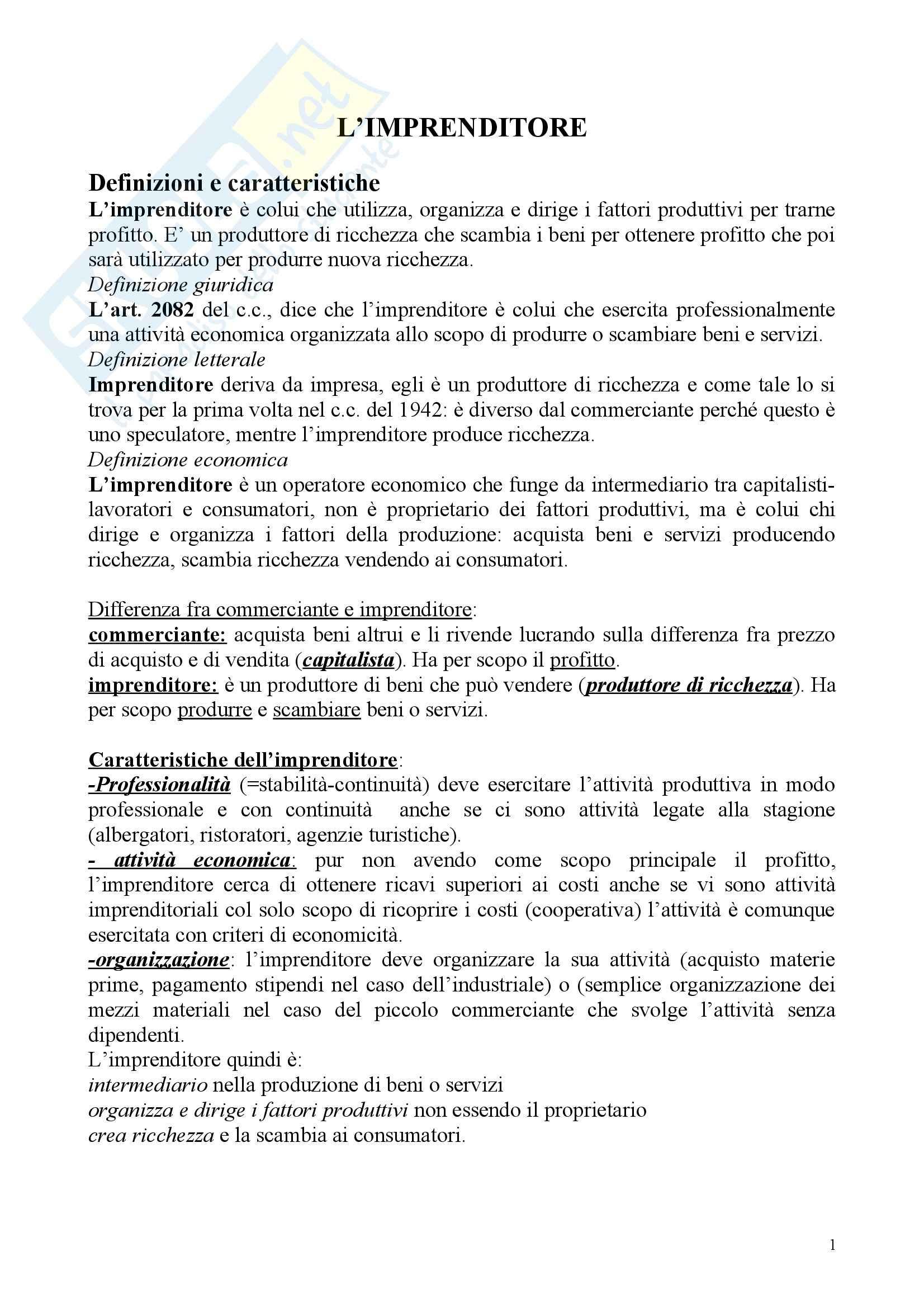Diritto commerciale - Riassunto esame, prof. sciso