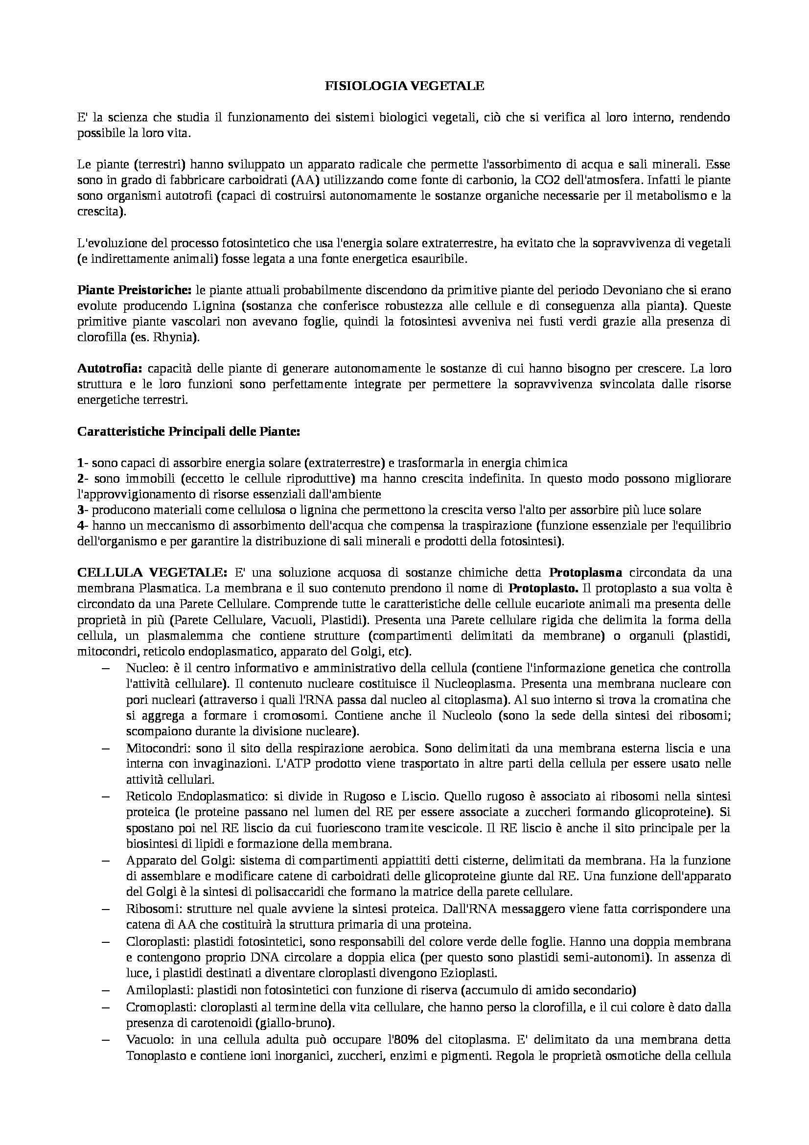 appunto R. Gabbrielli Fisiologia vegetale