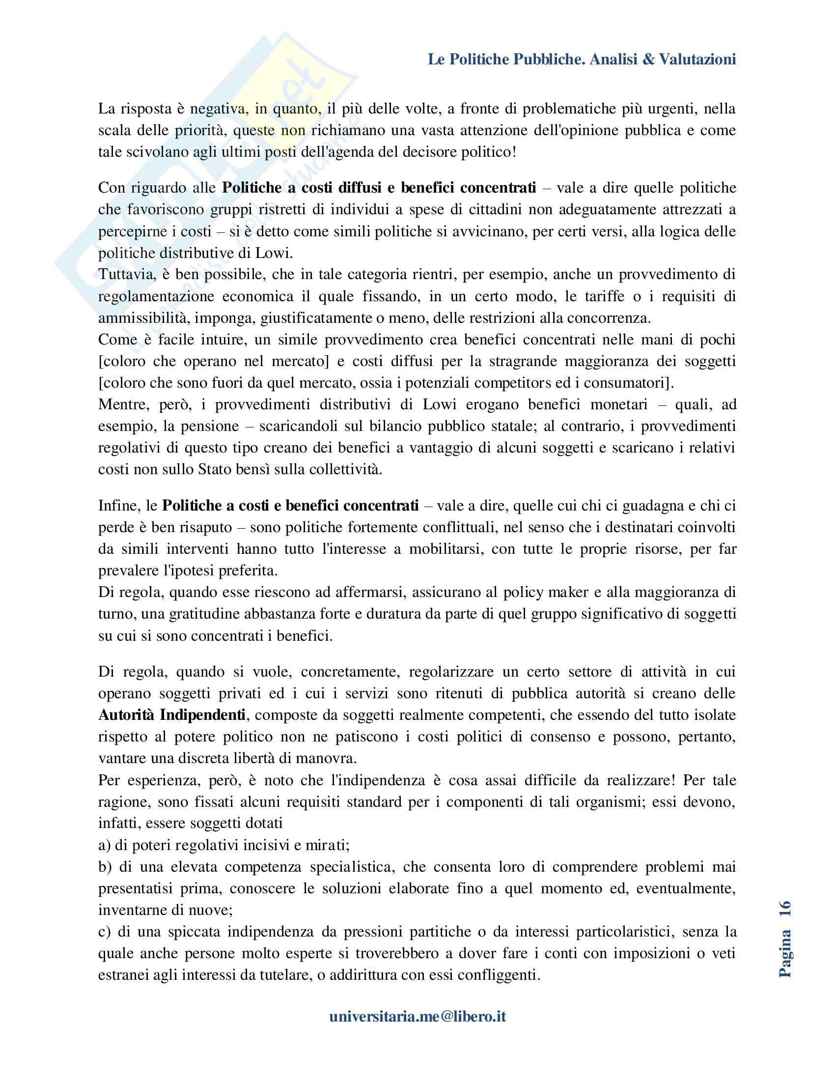 Riassunto esame Politiche Pubbliche, prof. La Spina, libro consigliato Analisi e valutazione delle politiche pubbliche, Espa Pag. 16