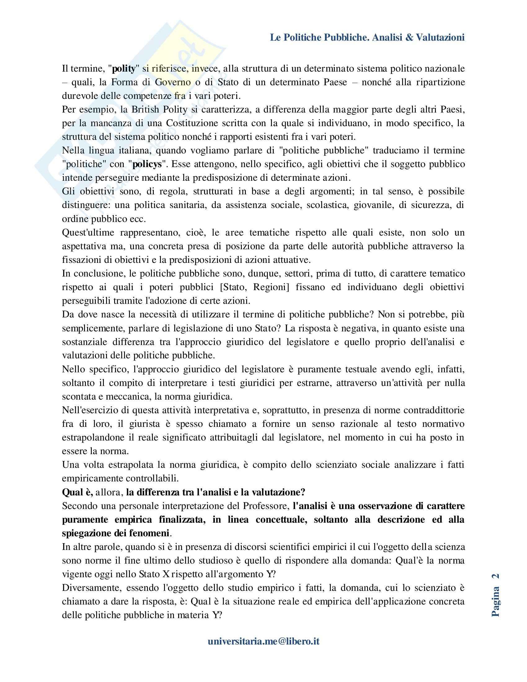 Riassunto esame Politiche Pubbliche, prof. La Spina, libro consigliato Analisi e valutazione delle politiche pubbliche, Espa Pag. 2