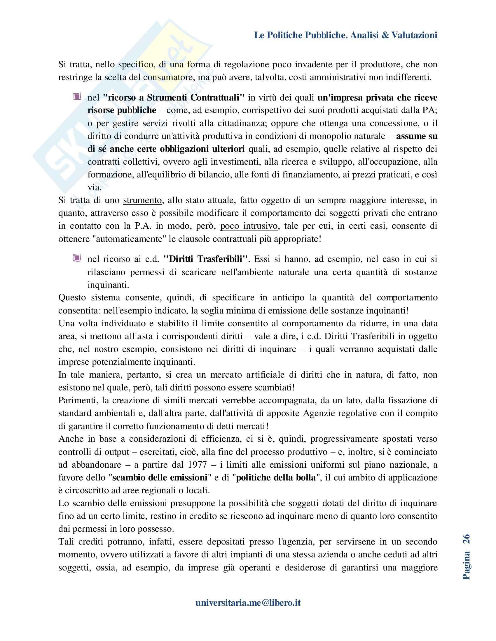 Riassunto esame Politiche Pubbliche, prof. La Spina, libro consigliato Analisi e valutazione delle politiche pubbliche, Espa Pag. 26