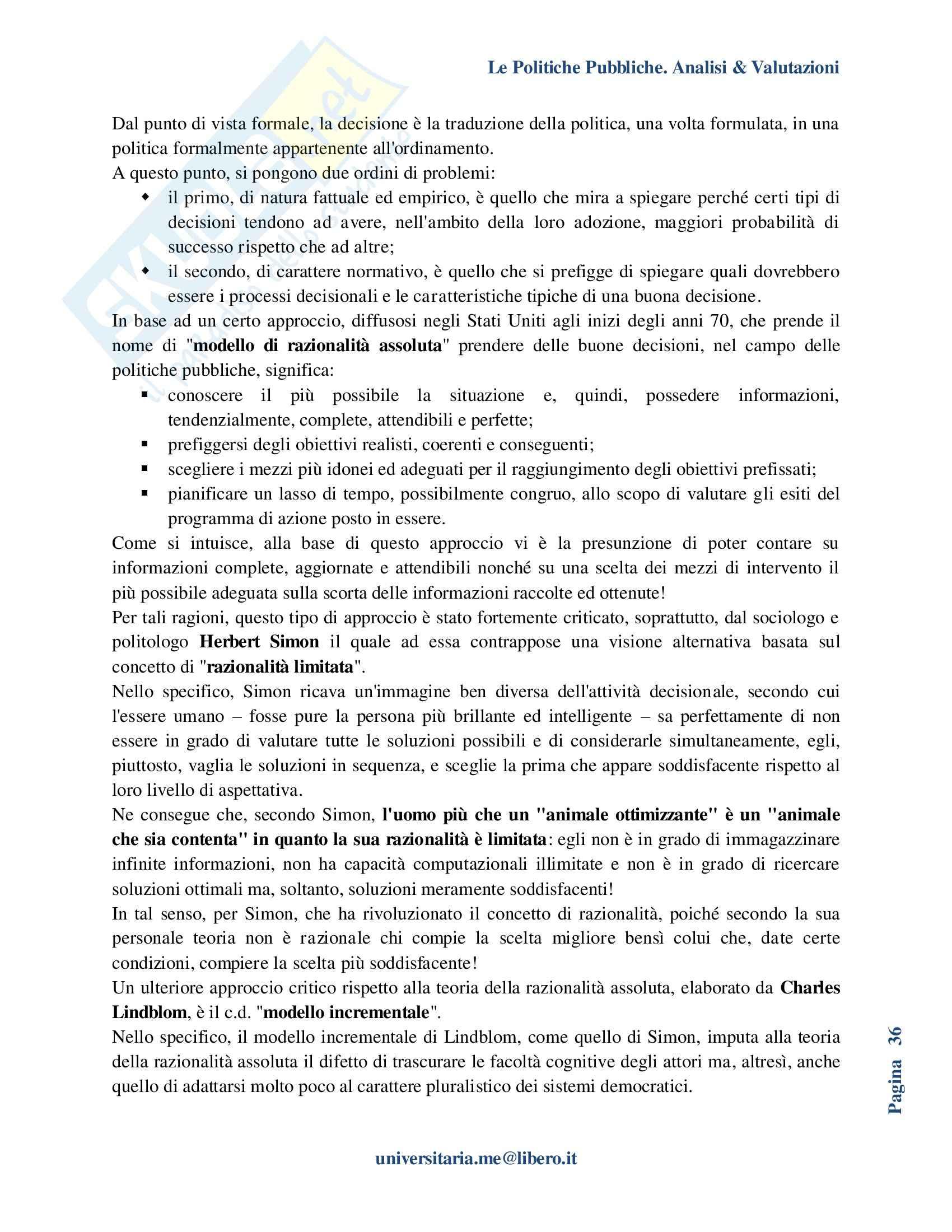 Riassunto esame Politiche Pubbliche, prof. La Spina, libro consigliato Analisi e valutazione delle politiche pubbliche, Espa Pag. 36