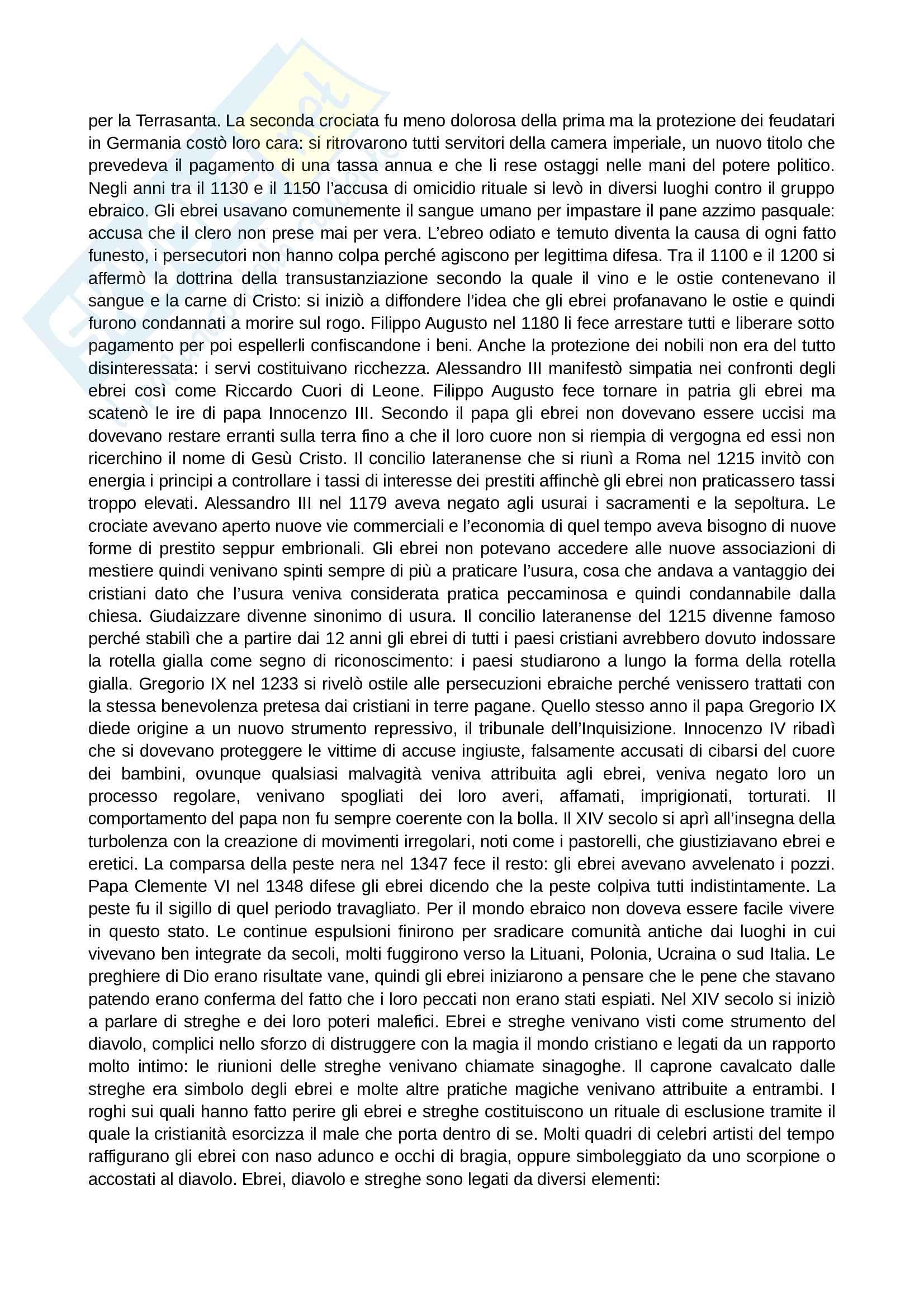 Riassunto esame Storia contemporanea, prof. Papadia, libro consigliato Storia del pregiudizio contro gli ebrei, Calimani Pag. 6