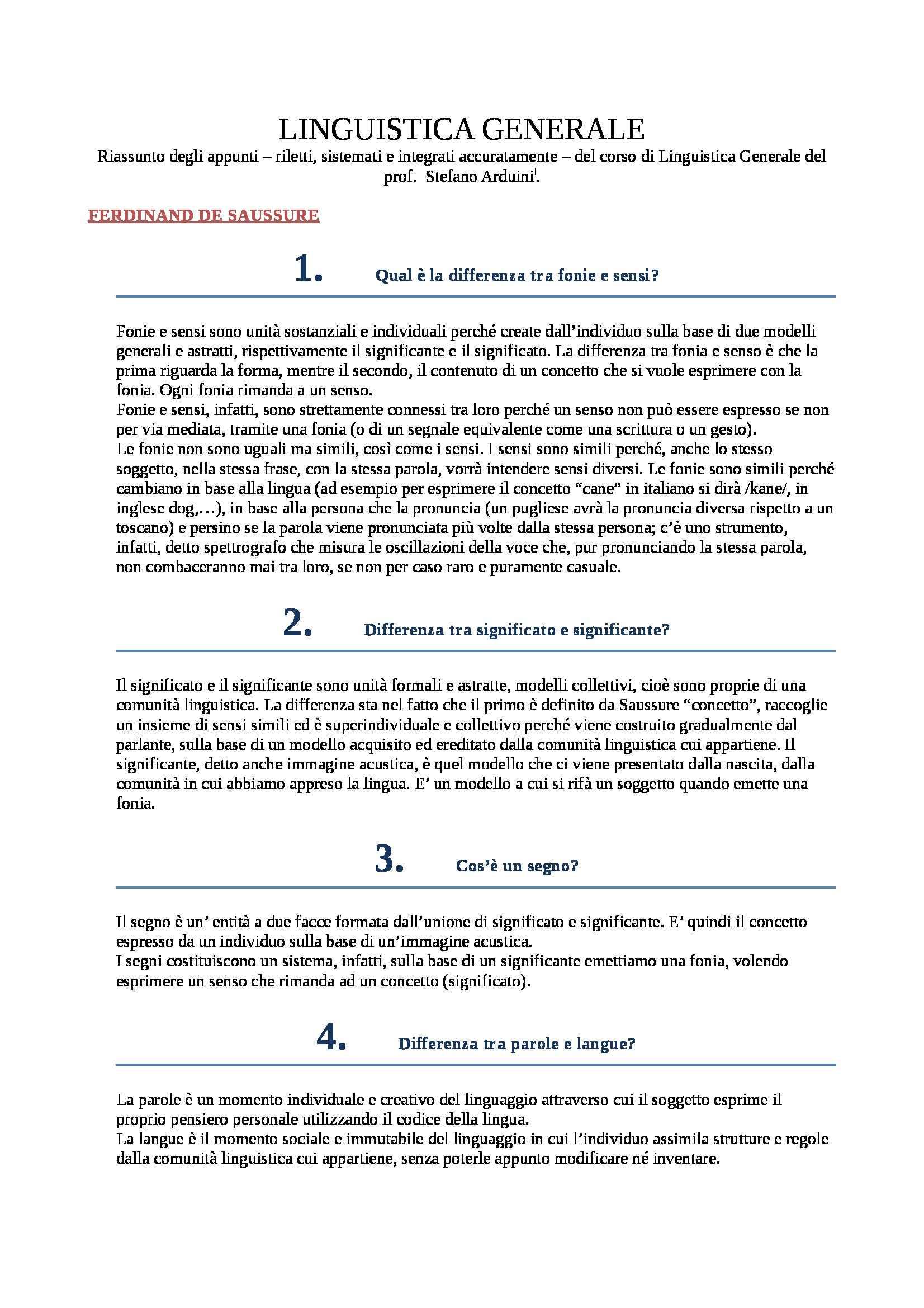 Linguistica generale - Appunti
