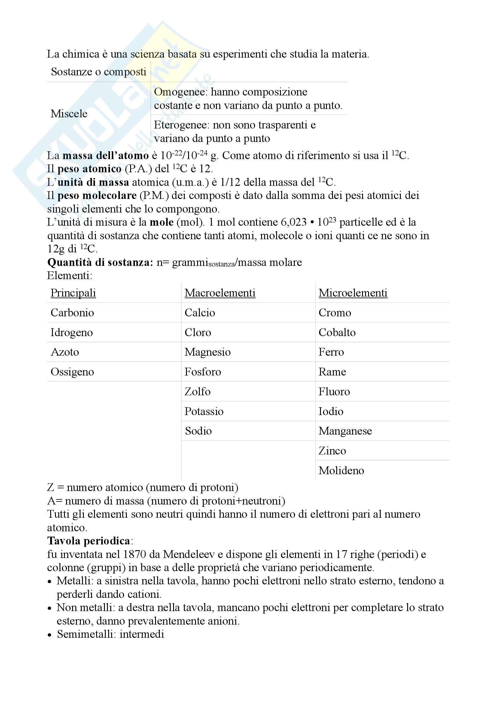 Chimica e Propedeutica Biochimica - Appunti