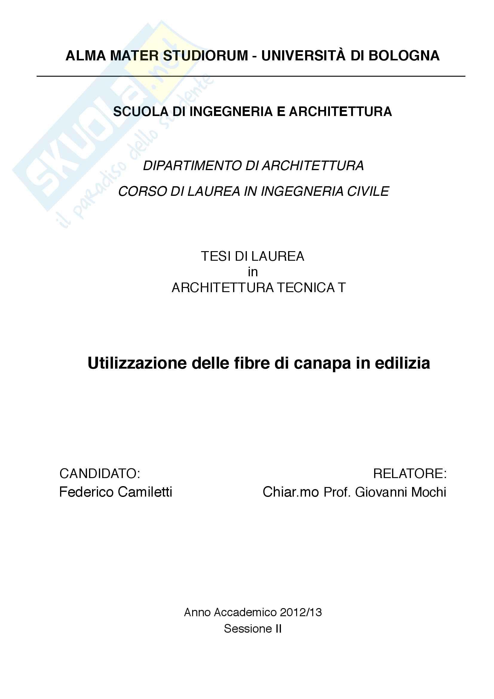 Utilizzazione delle fibre di canapa in edilizia - Tesi di laurea triennale in Ingegneria Civile