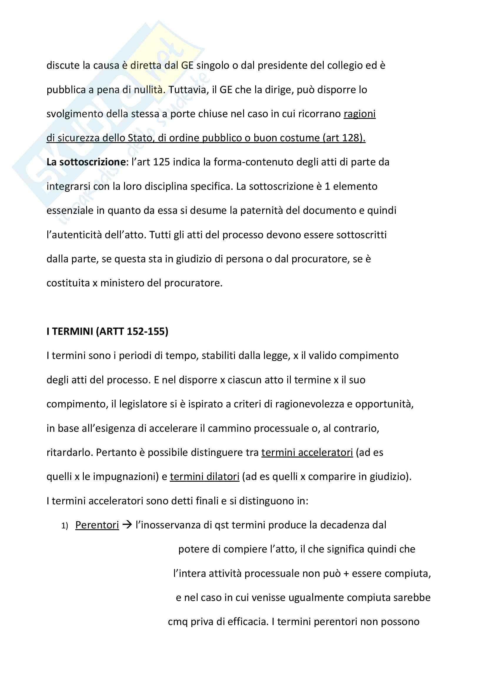 Diritto processuale civile - atti processuali, GE e termini Pag. 6