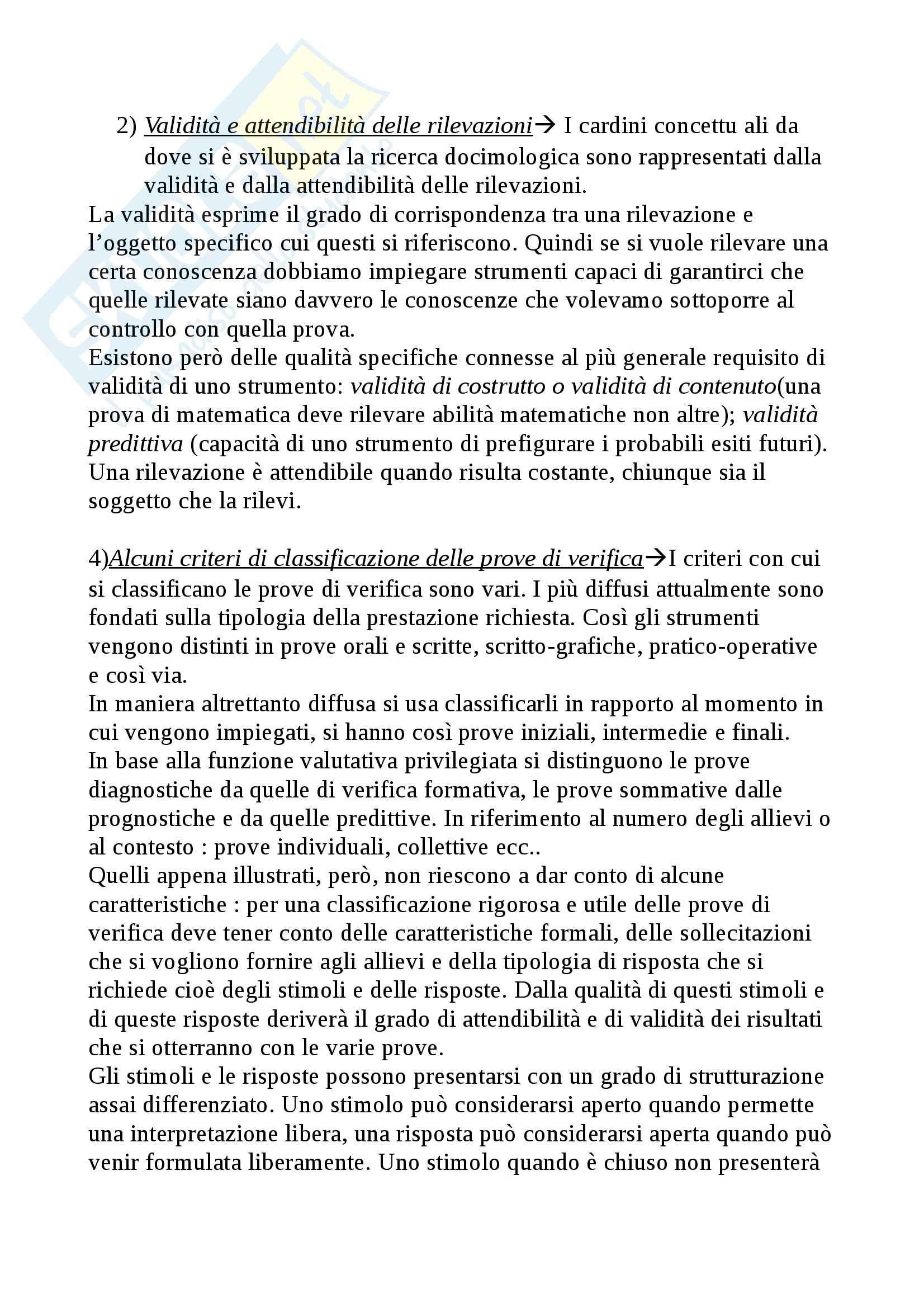 Riassunto esame Didattica Generale, prof. Isidori, libro consigliato Manuale della Valutazione Scolastica, Domenici Pag. 11