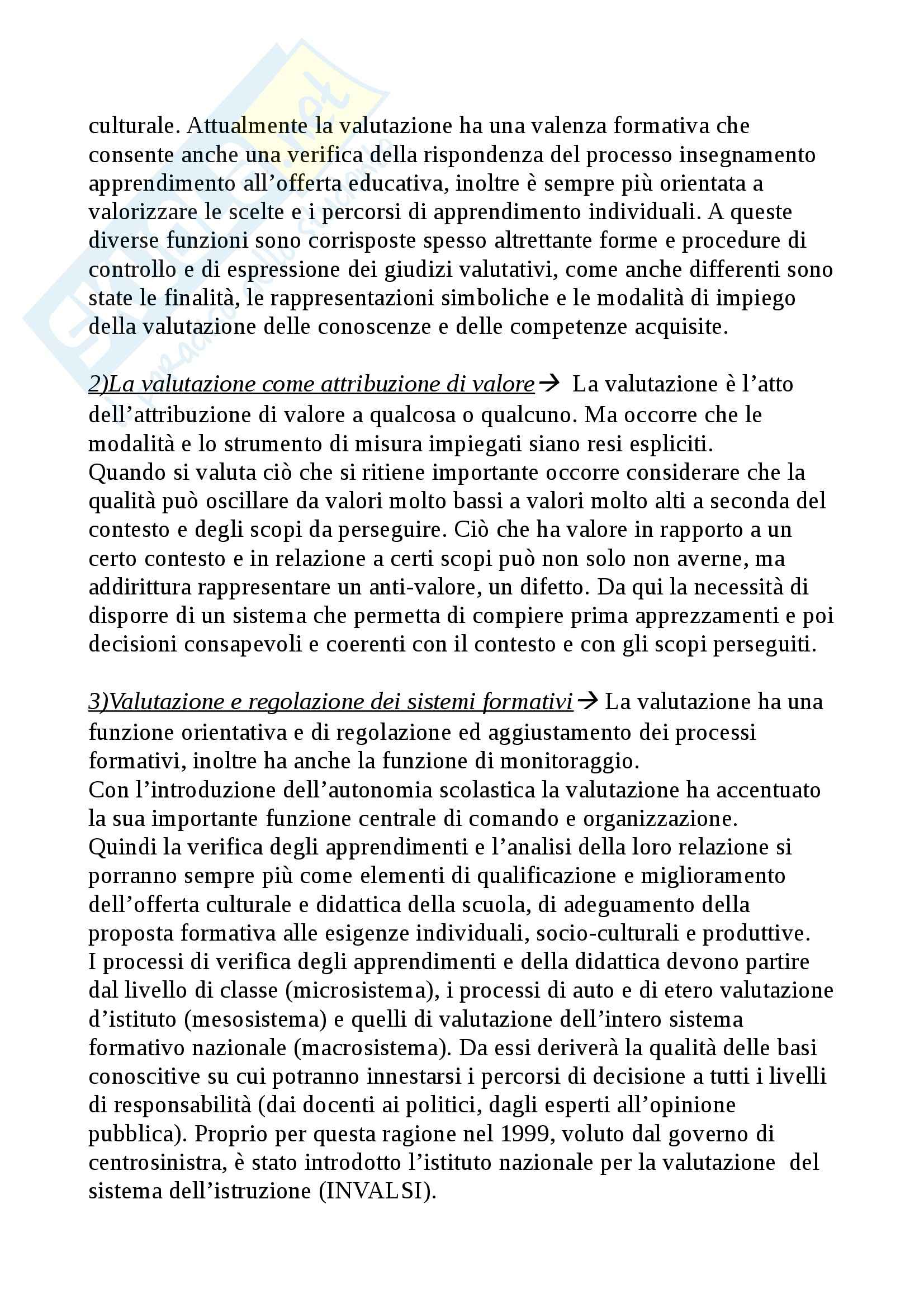 Riassunto esame Didattica Generale, prof. Isidori, libro consigliato Manuale della Valutazione Scolastica, Domenici Pag. 2