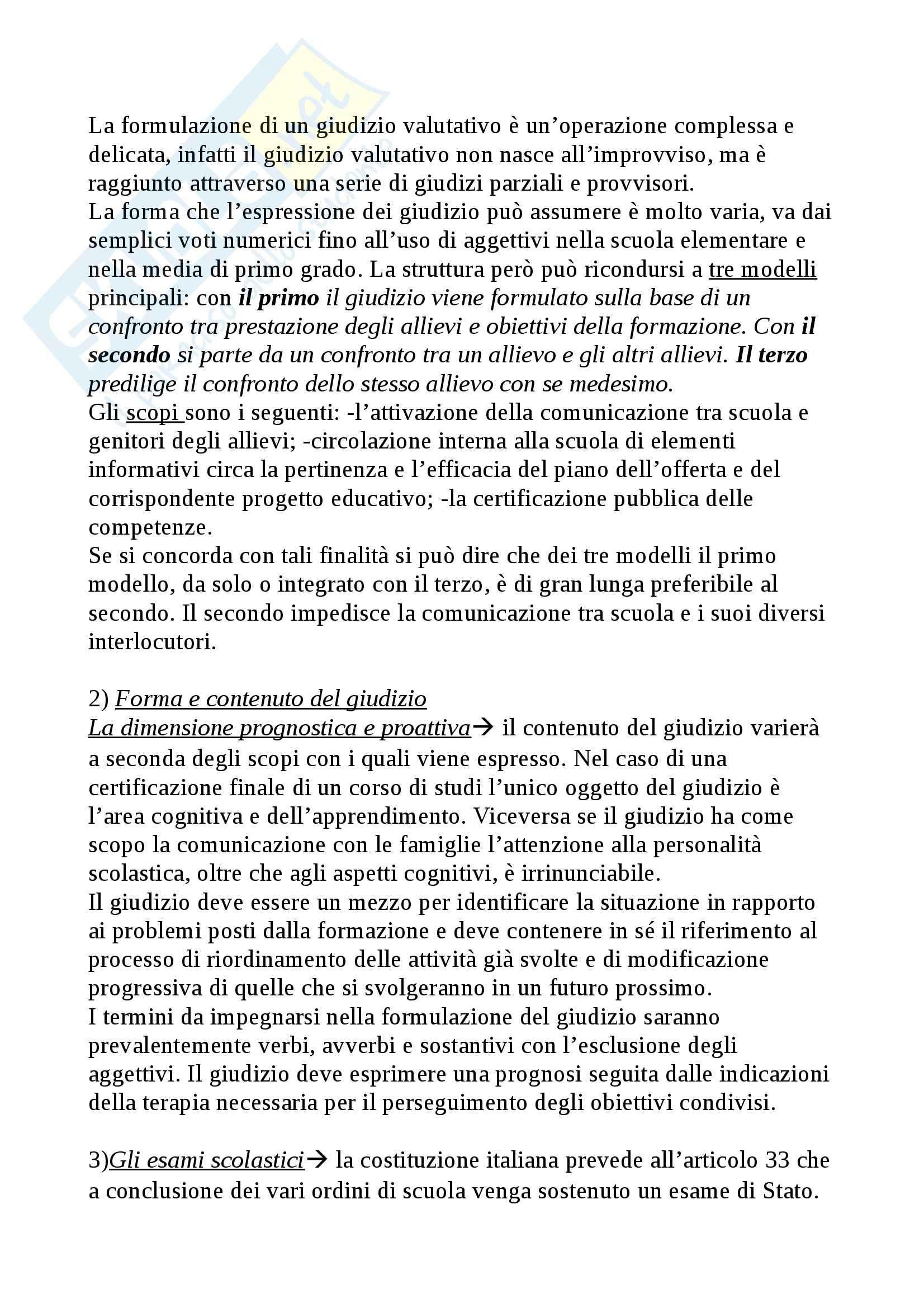 Riassunto esame Didattica Generale, prof. Isidori, libro consigliato Manuale della Valutazione Scolastica, Domenici Pag. 26