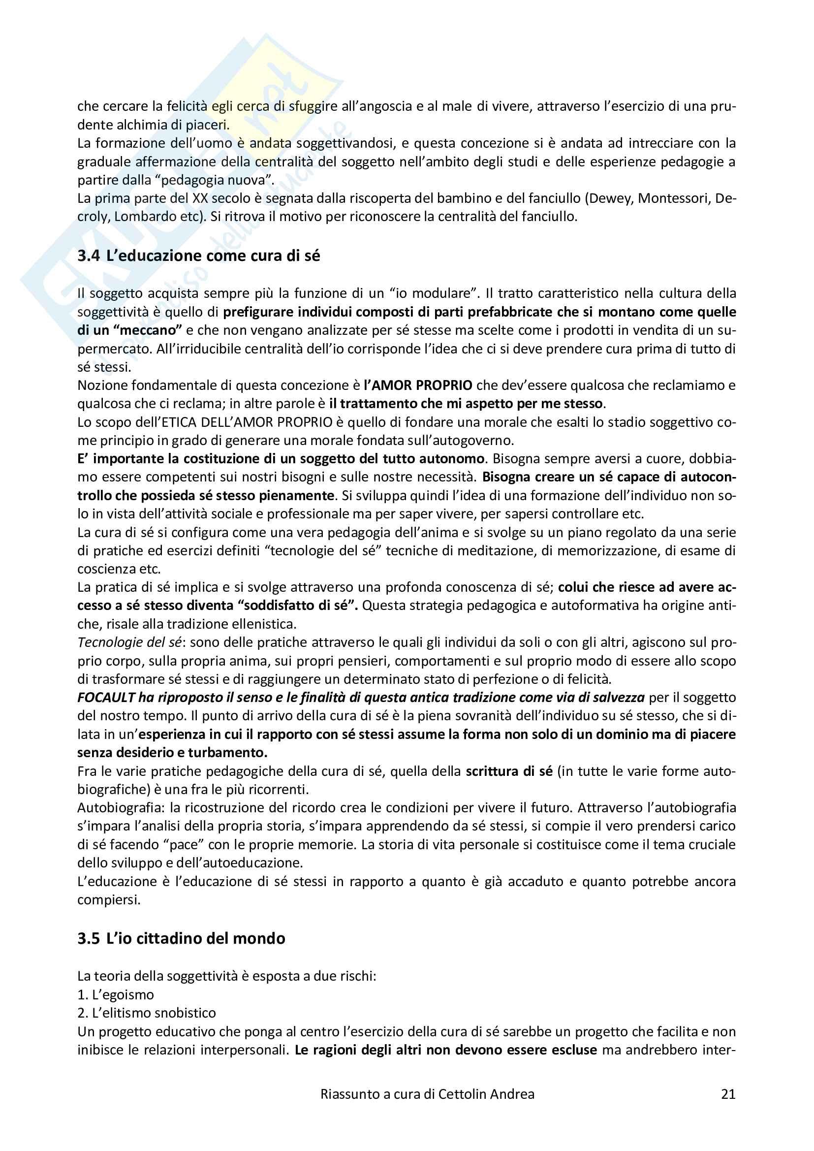Riassunto esame Pedagogia Sociale e di Comunità, prof. Chiosso, libro consigliato I Significati dell'Educazione Pag. 21