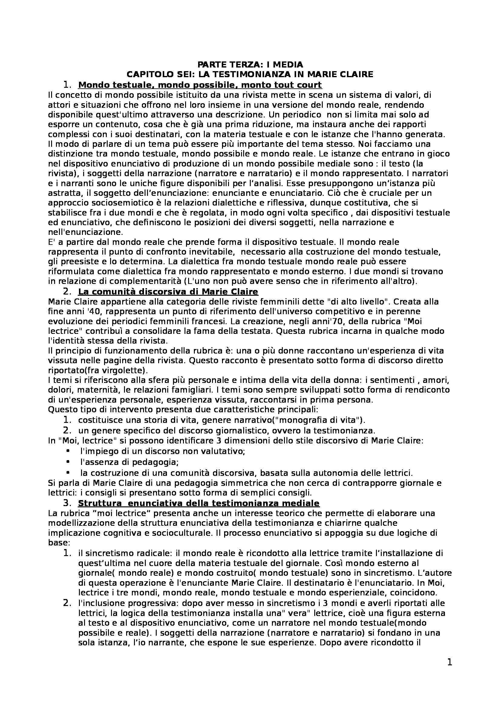 Riassunto esame Linguaggi Politici, prof. Bellini, libro consigliato Analizzare la comunicazione. Come analizzare la pubblicità, Semprini