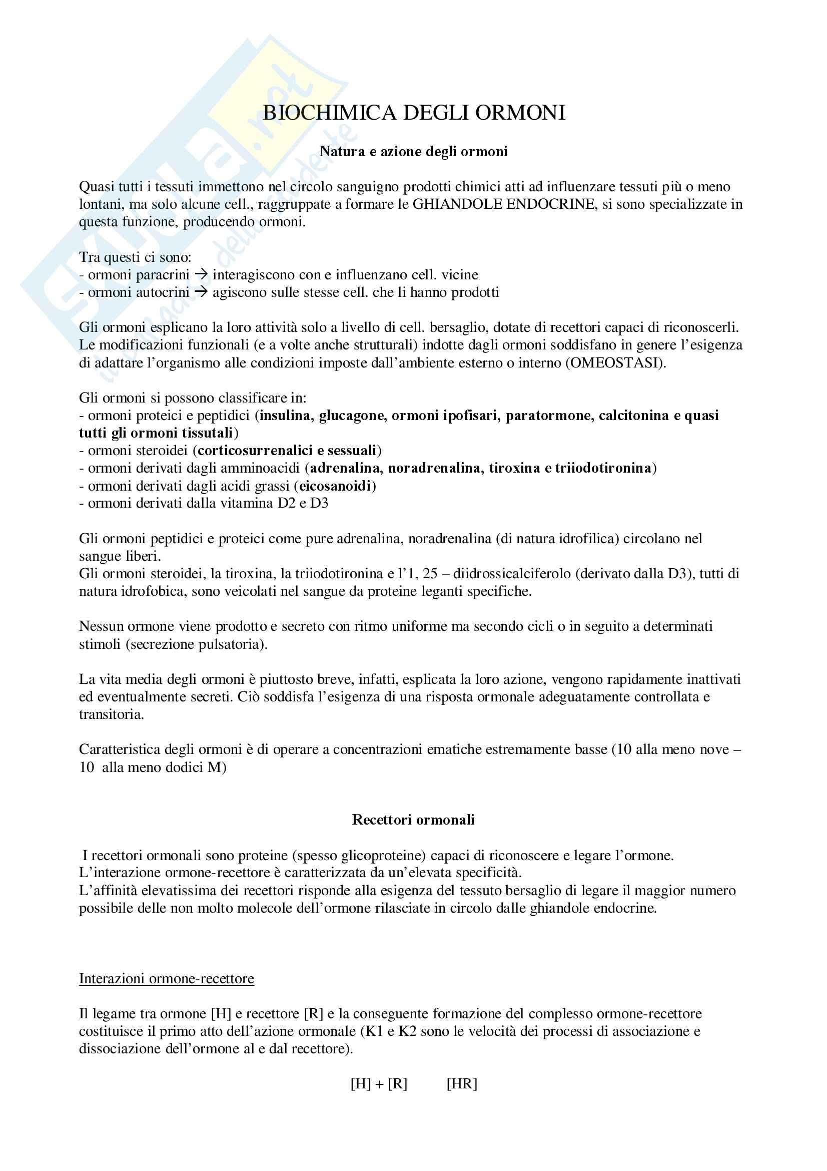 Biochimica II – Ormoni