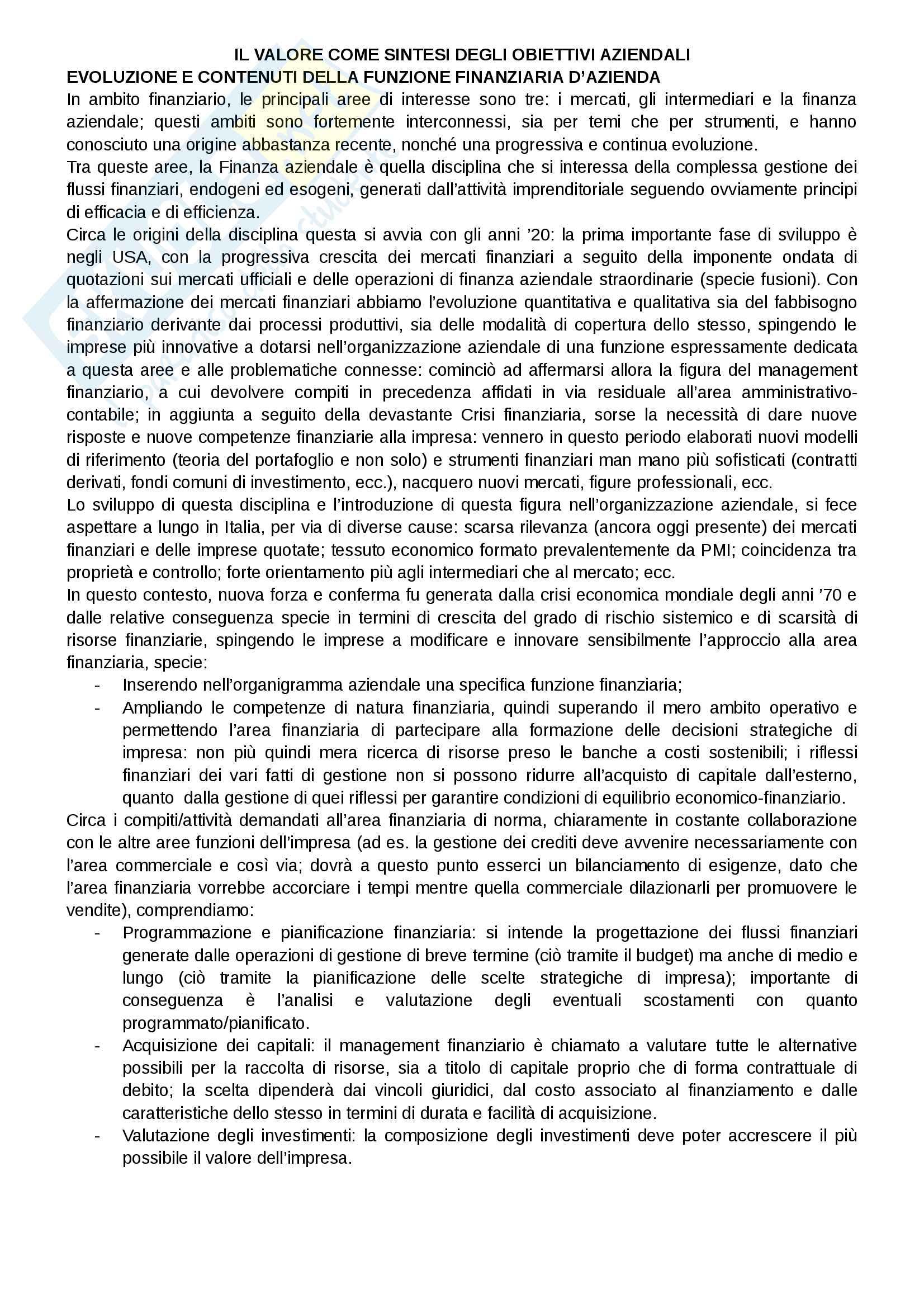 Riassunto esame Finanza aziendale, docente Alberto Manelli, libro consigliato Finanza di impresa di Alberto Manelli