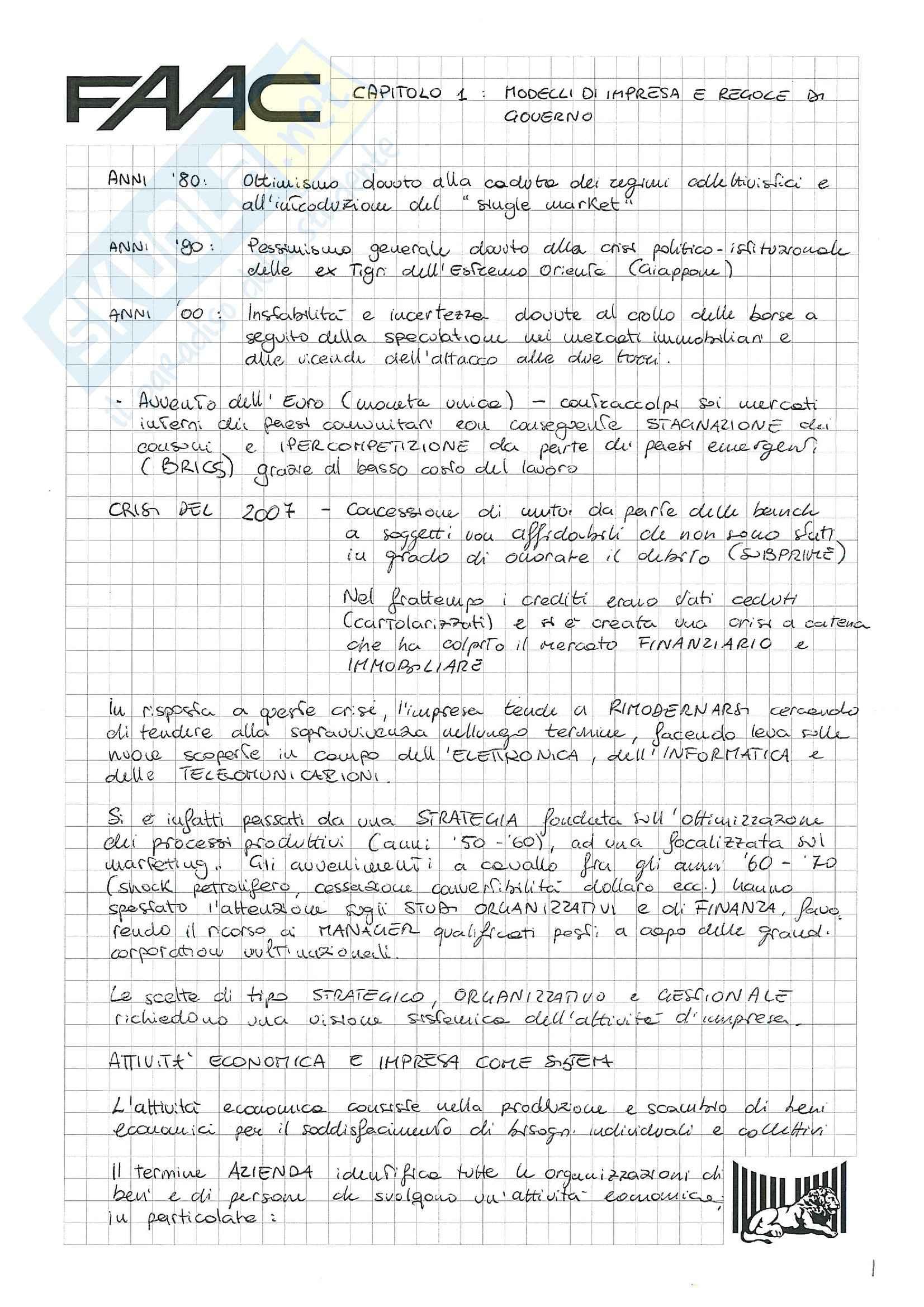 Riassunto esame Economia e gestione delle imprese, prof. Santovito, libro consigliato La gestione d'impresa, Scicutella