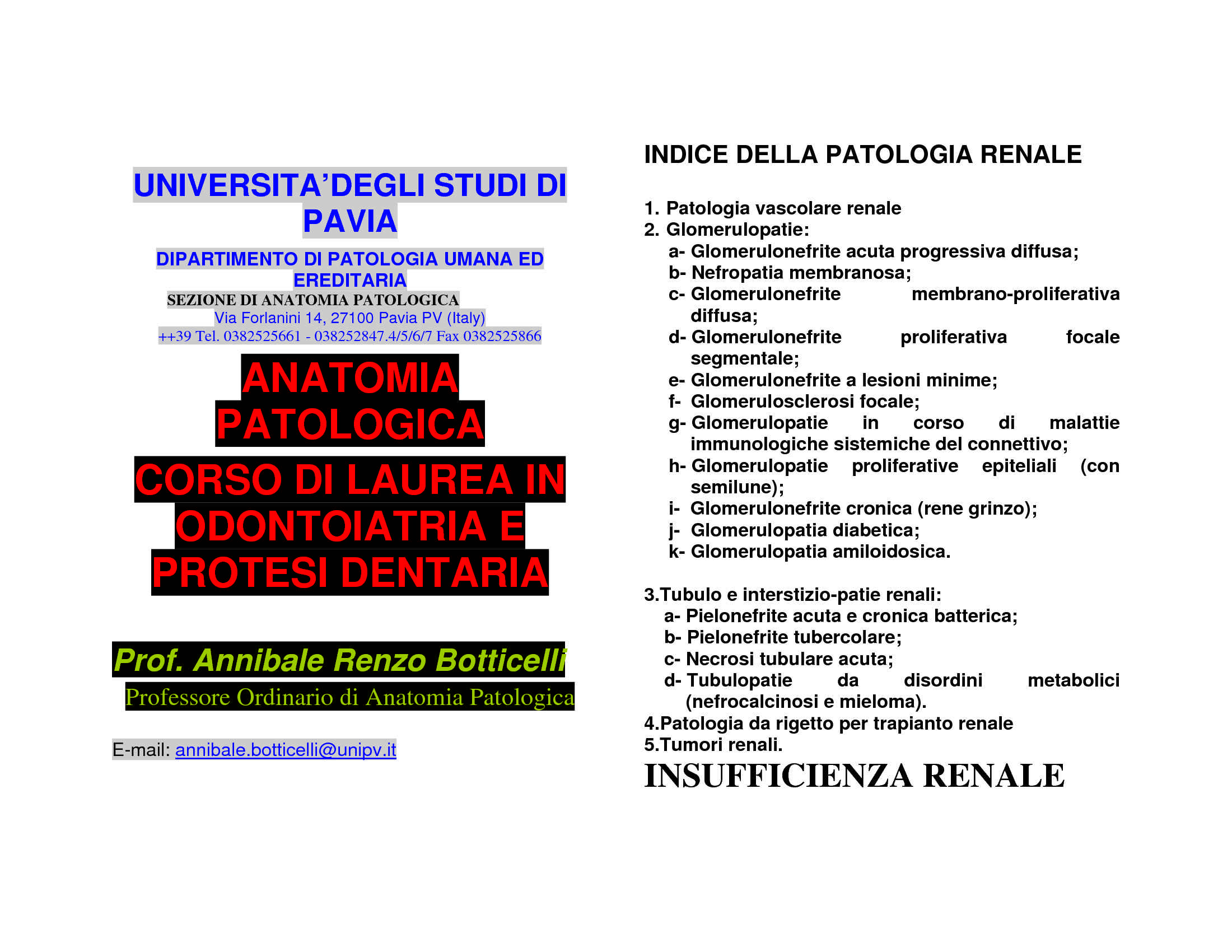 Patologie dell'apparato urogenitale