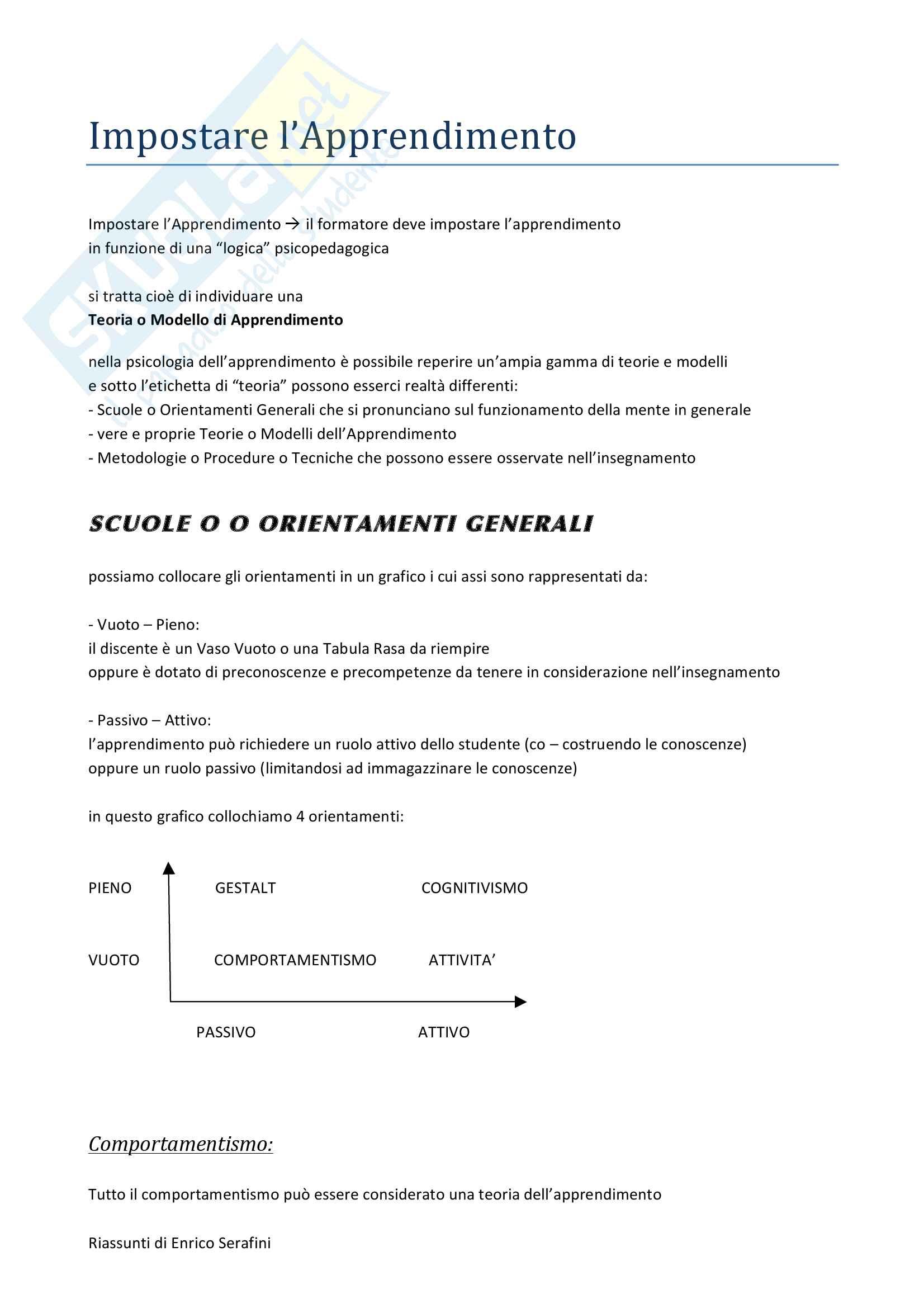 Riassunto esame Psicologia Cognitiva Applicata, docente Antonietti, libro consigliato Come si Impara, Antonietti