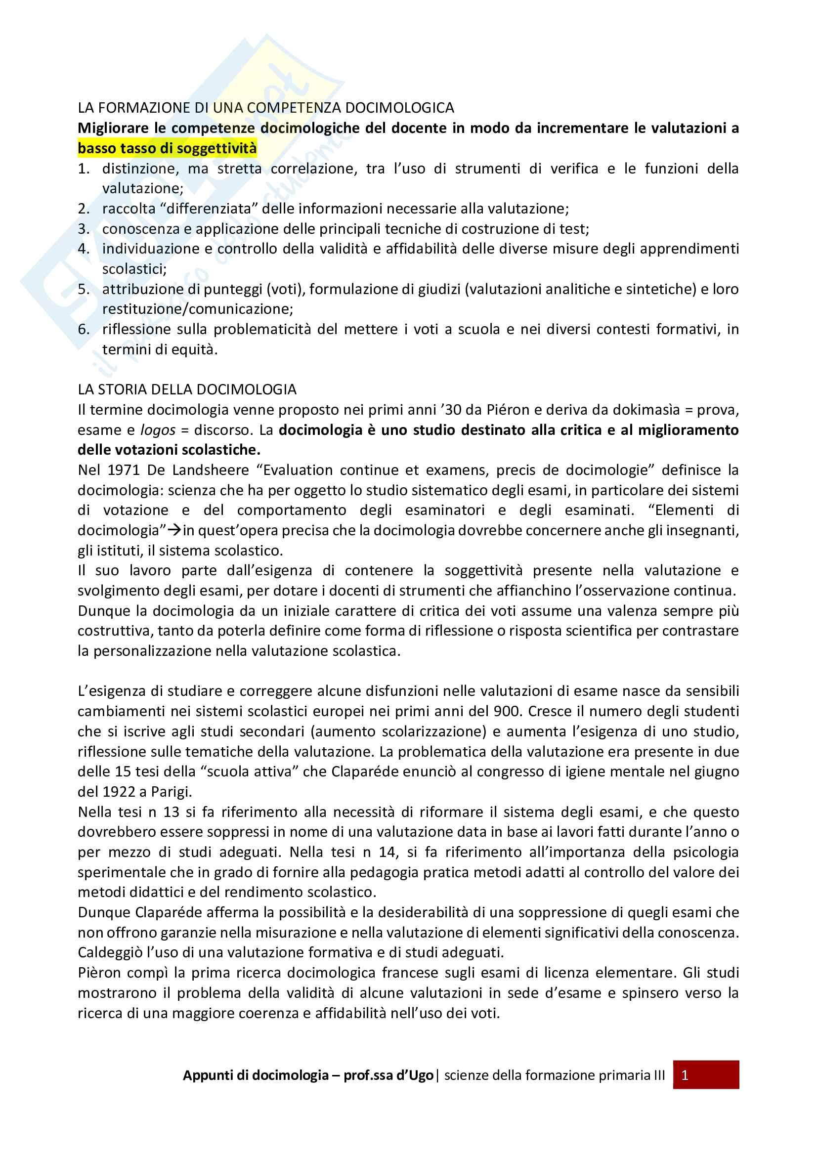 Appunti per l'esame di docimologia, prof.ssa d'Ugo