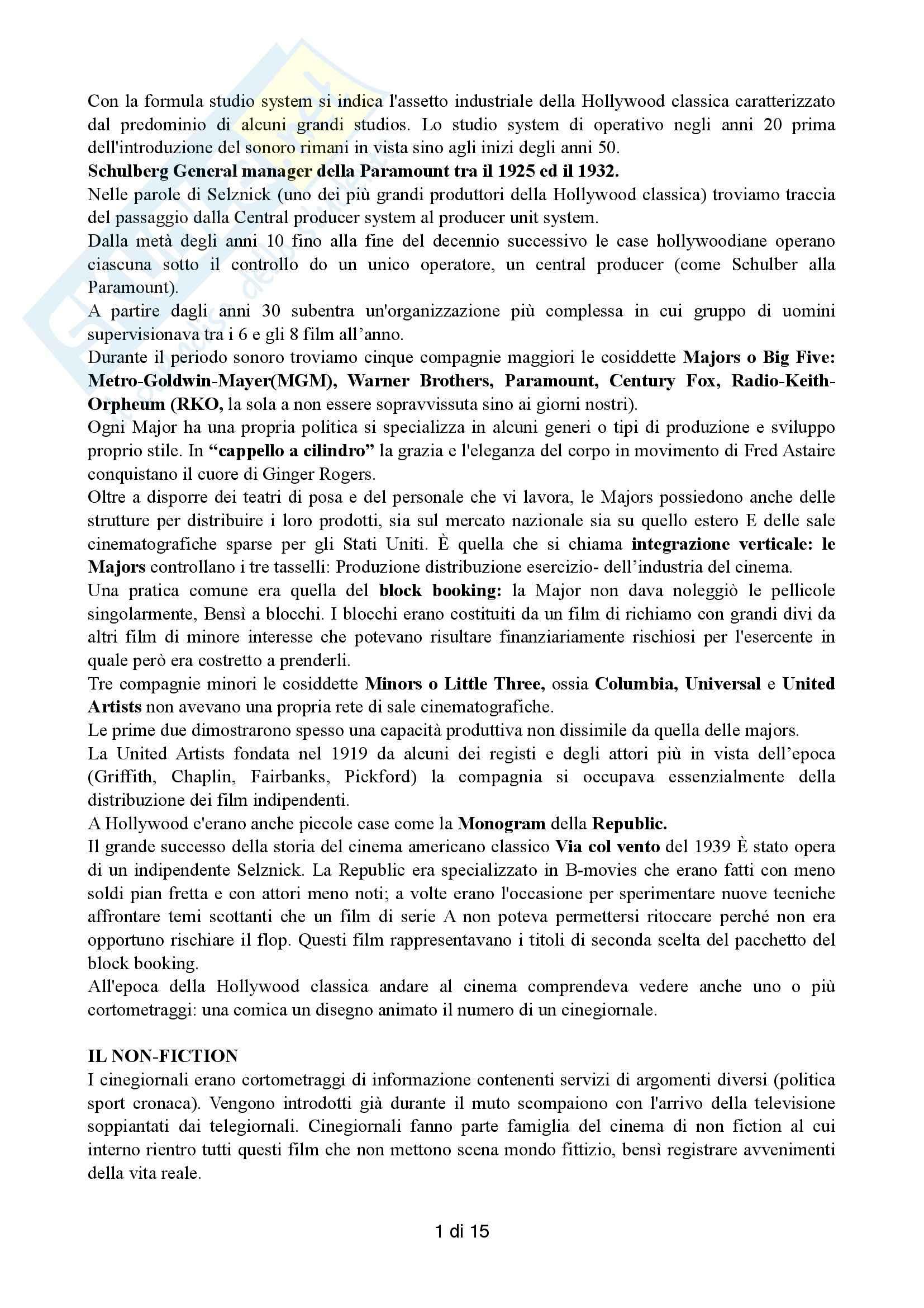 Riassunto esame Cinema, prof. Farinotti, libro consigliato Il cinema americano classico, Alonge, Carluccio