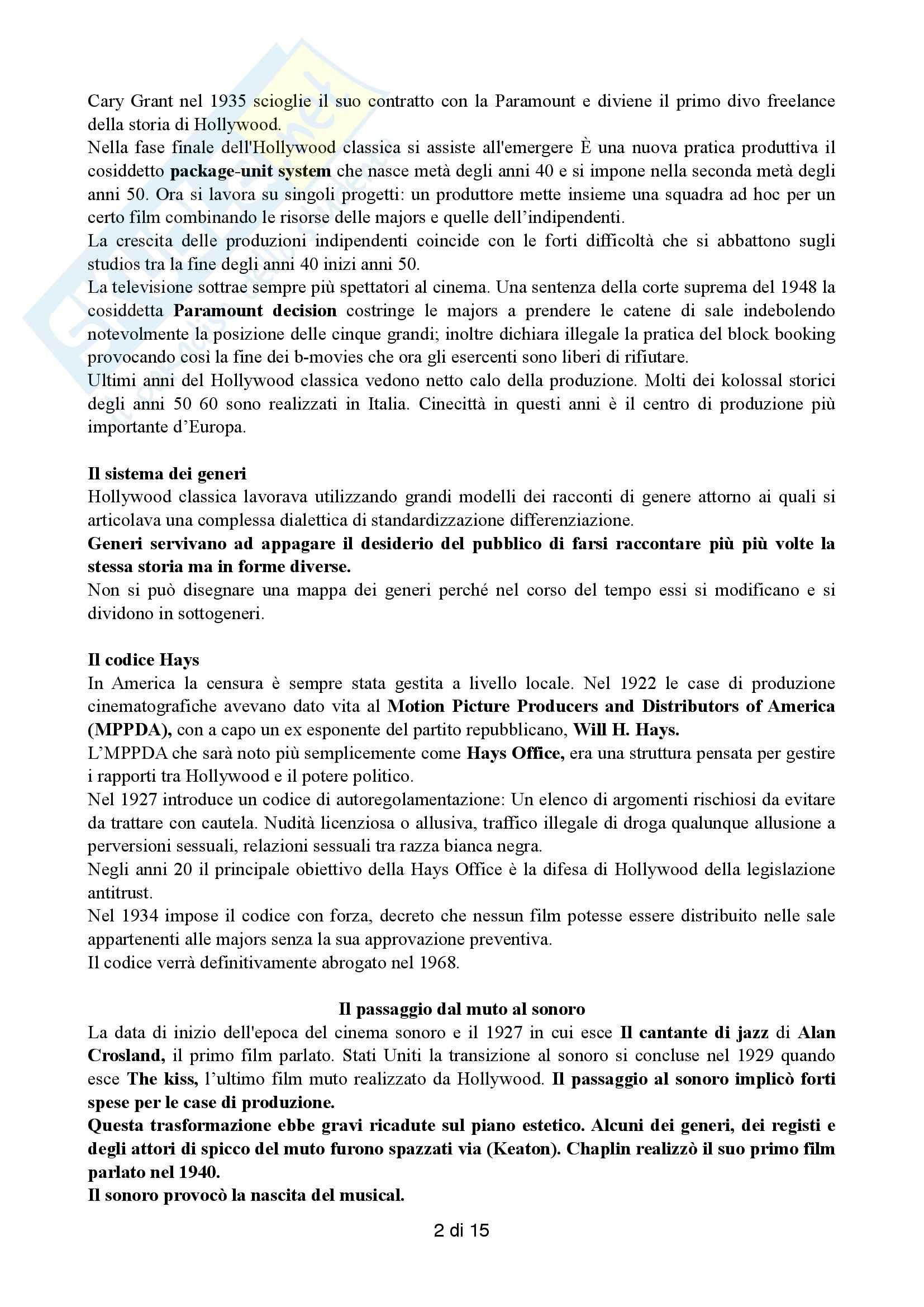 Riassunto esame Cinema, prof. Farinotti, libro consigliato Il cinema americano classico, Alonge, Carluccio Pag. 2