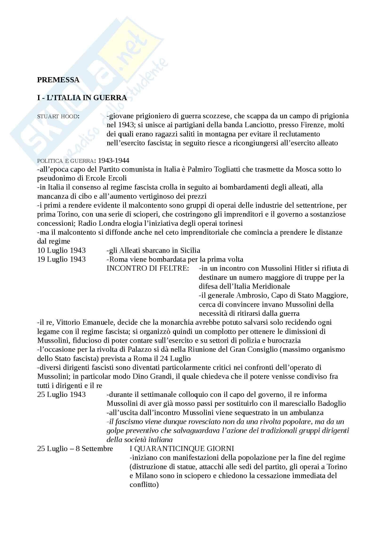 Riassunto esame Storia Contemporanea, prof. Pezzino, libro consigliato Storia d'Italia dal dopoguerra ad Oggi, Ginsborg