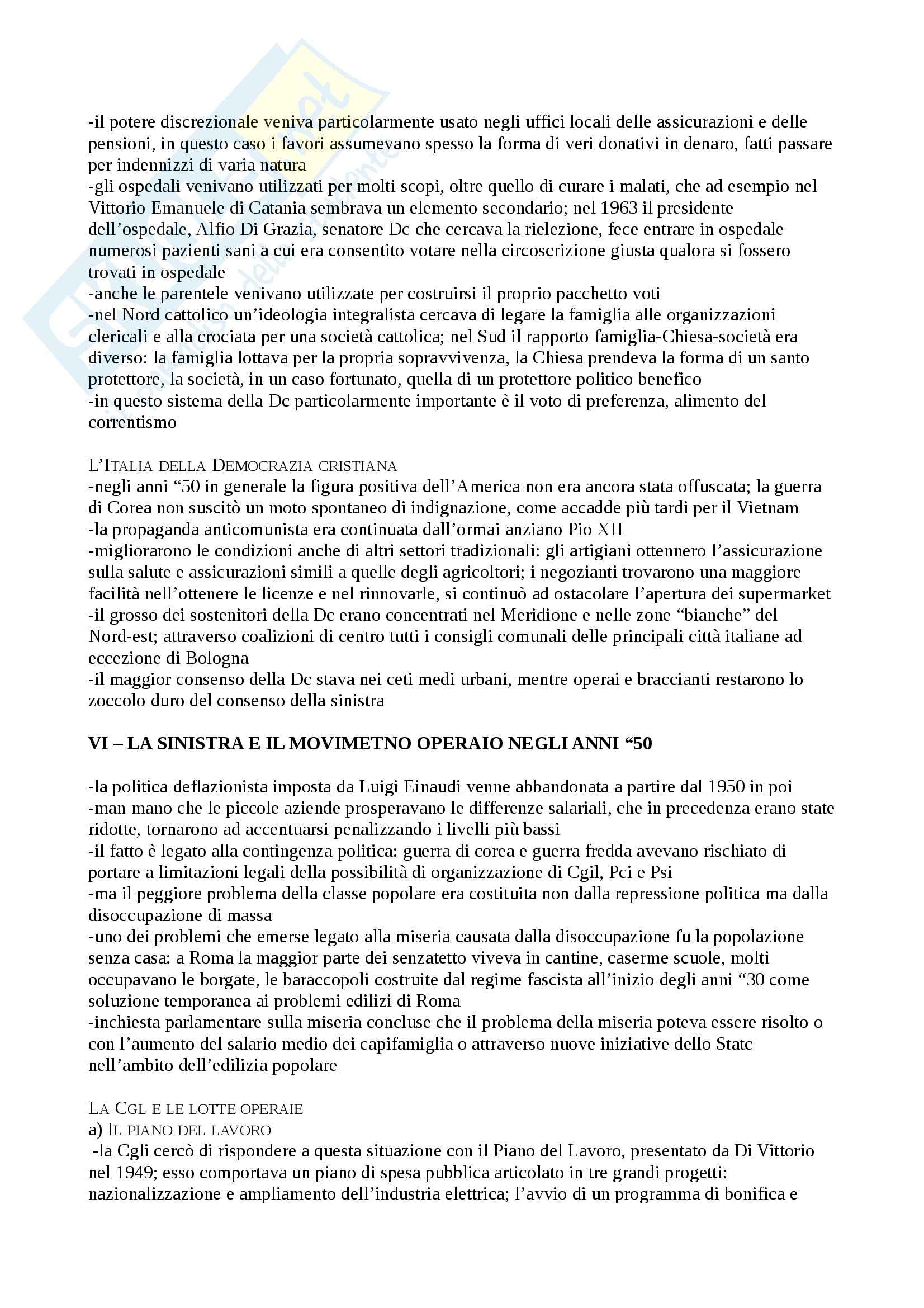 Riassunto esame Storia Contemporanea, prof. Pezzino, libro consigliato Storia d'Italia dal dopoguerra ad Oggi, Ginsborg Pag. 26