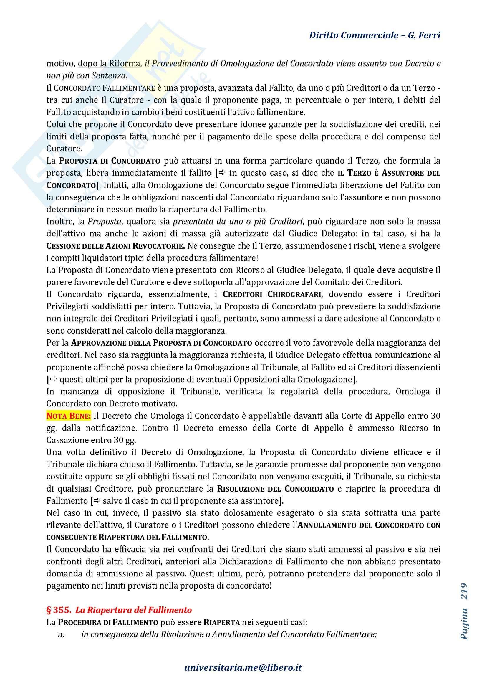 Riassunto esame Diritto Commerciale, prof. Terranova, libro consigliato Manuale di Diritto Commerciale, Angelici, Ferri, parti III e IV Pag. 16