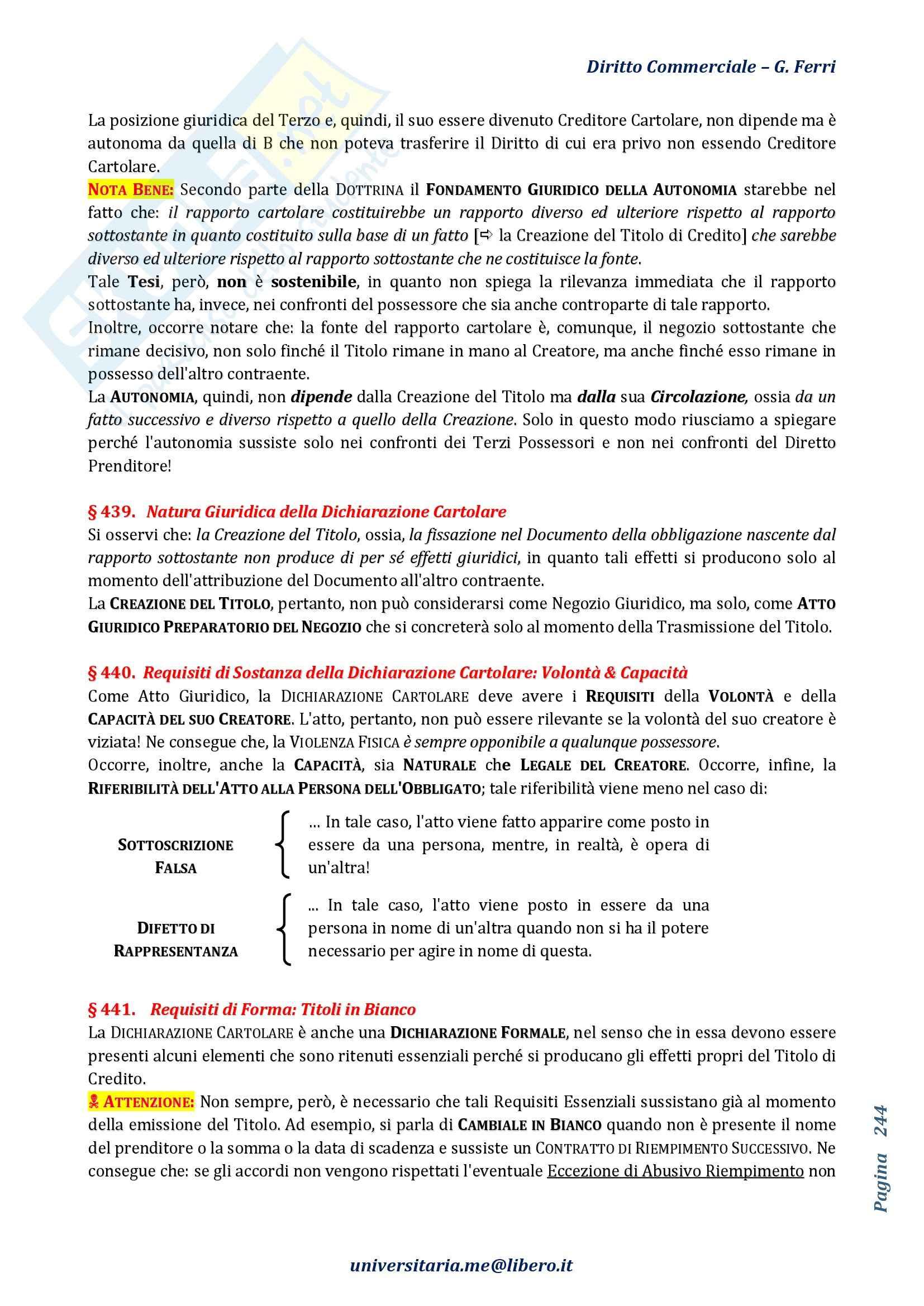 Riassunto esame Diritto Commerciale, prof. Terranova, libro consigliato Manuale di Diritto Commerciale, Angelici, Ferri, parti III e IV Pag. 41
