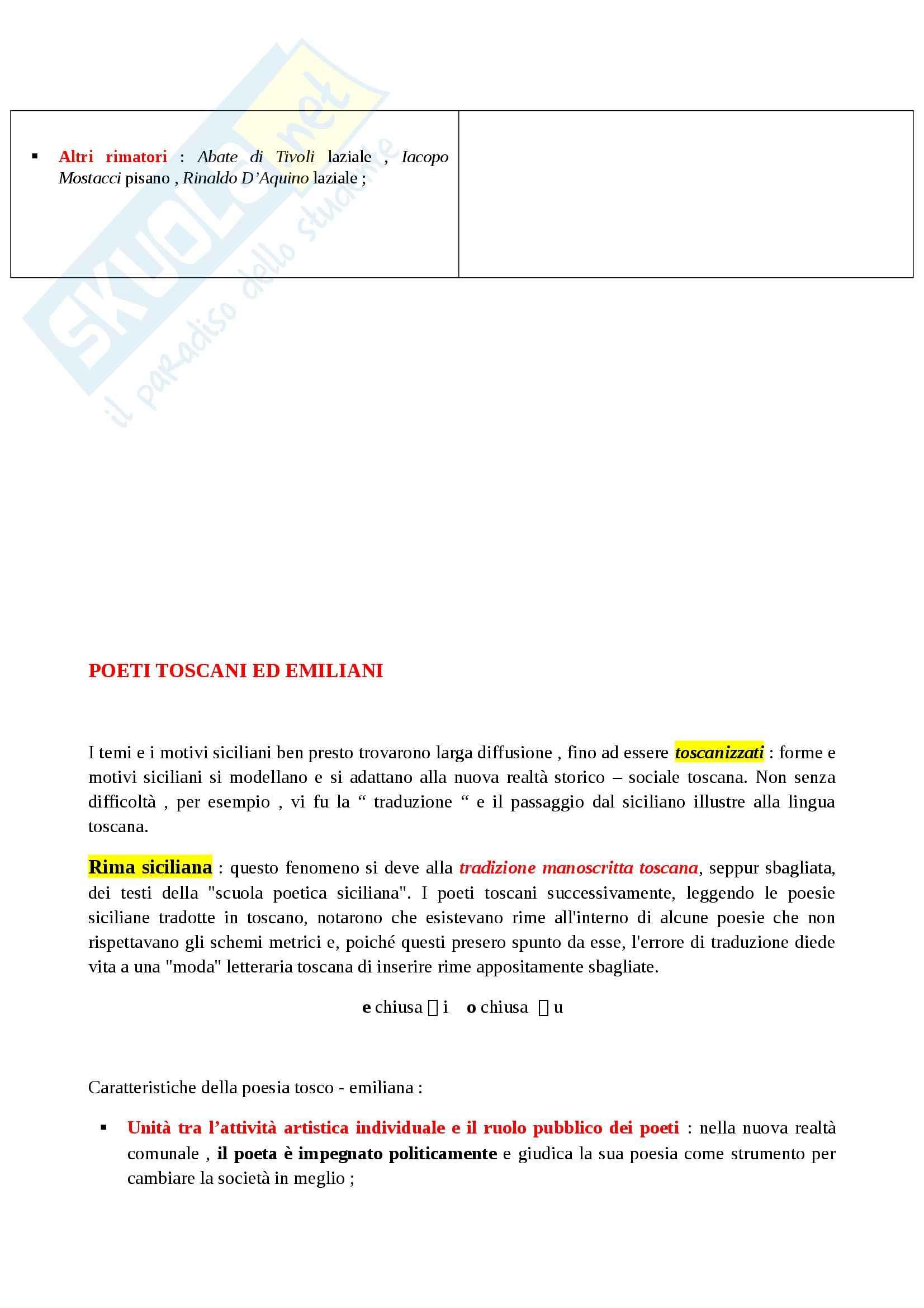 Riassunto esame Letteratura Italiana: La Letteratura Italiana, dalle Origini al Secondo Ottocento, prof. Paolino Pag. 11